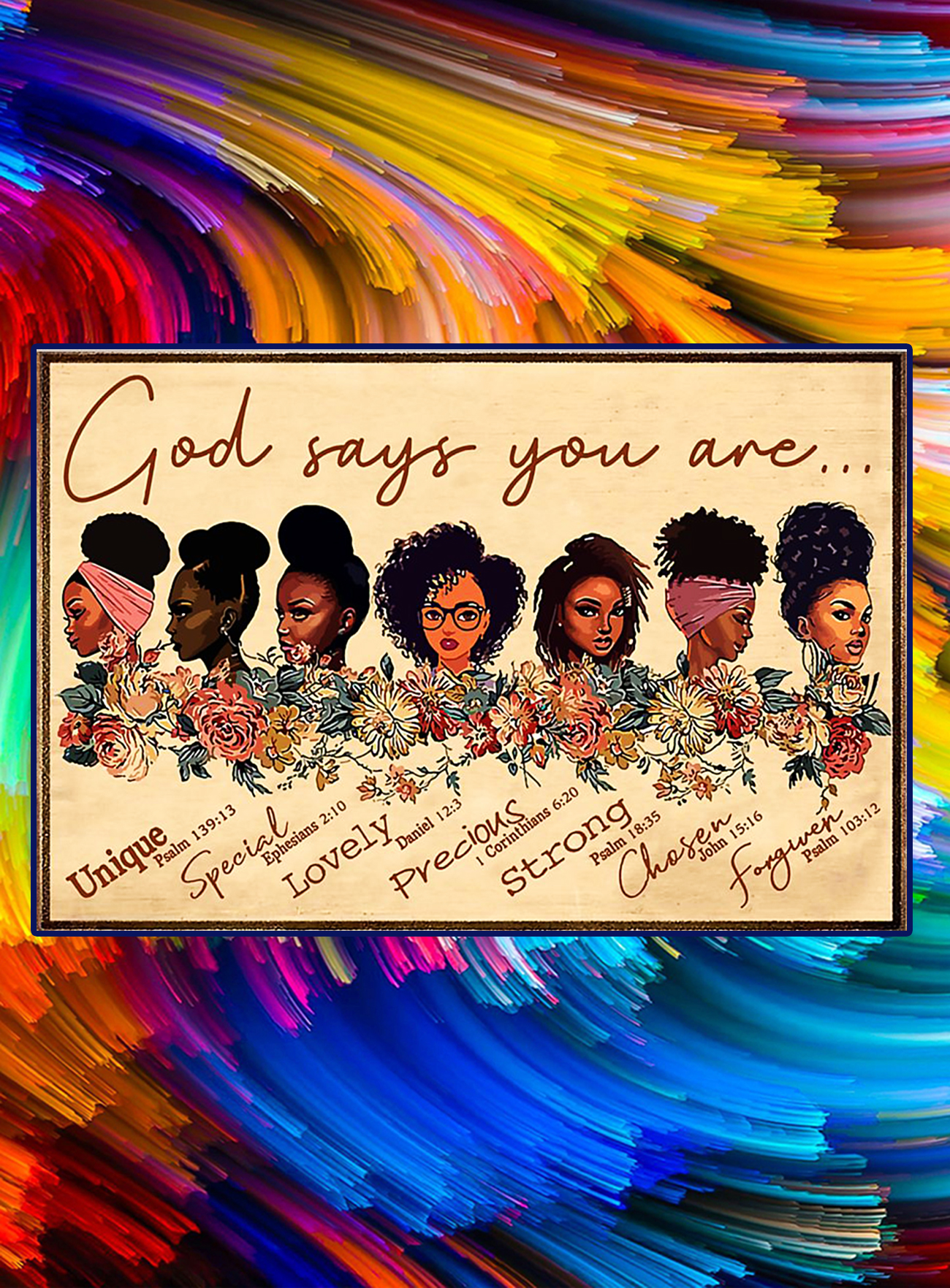 Black girl god says you are poster - A4
