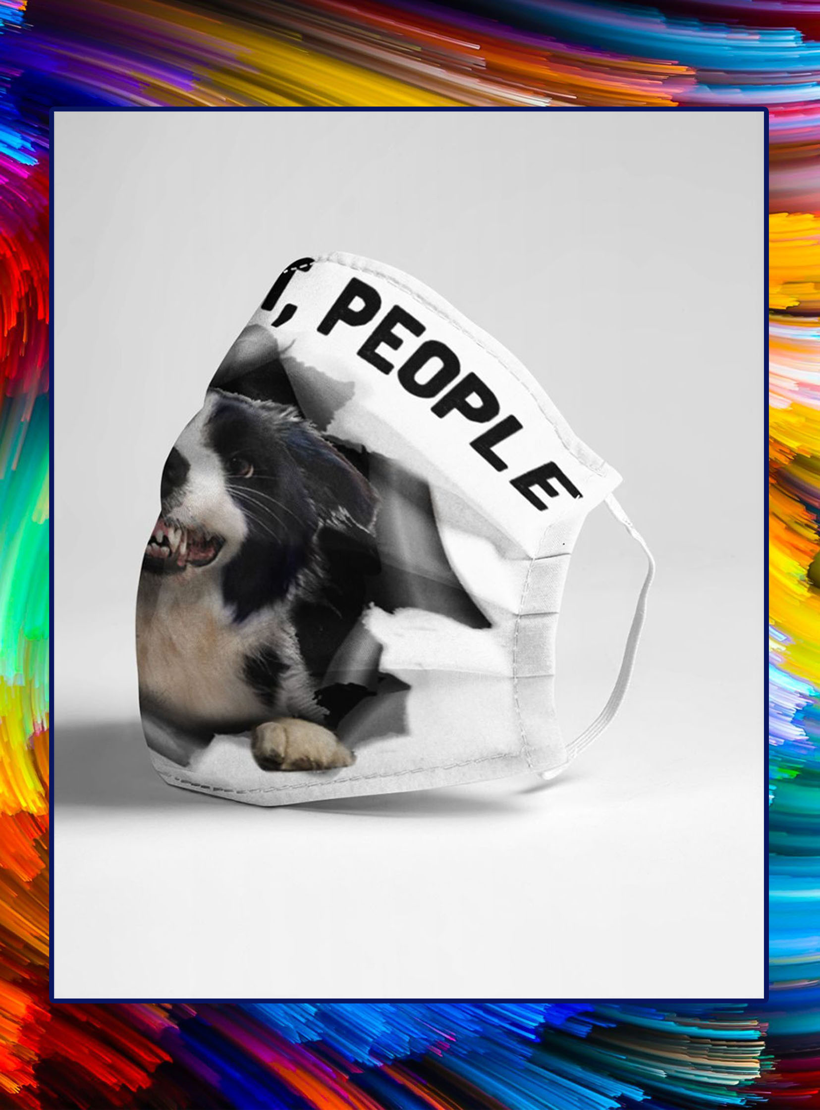 Border collie six feet people face mask- pic 1