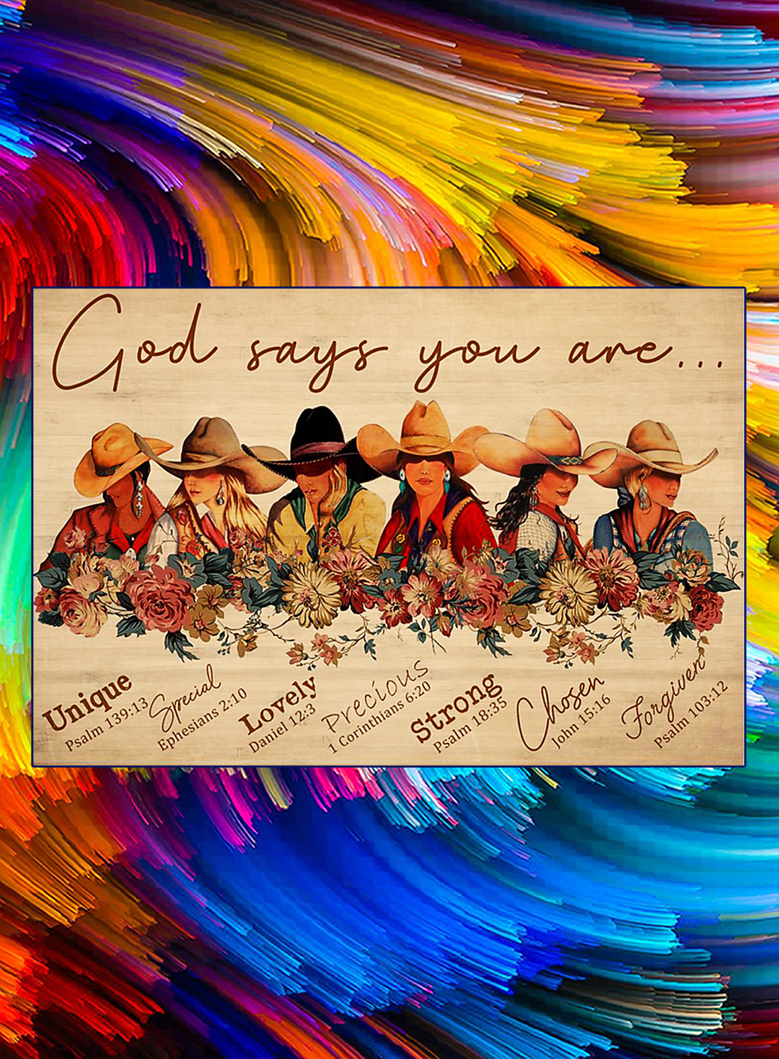 Cowgirl God says you are poster - A4