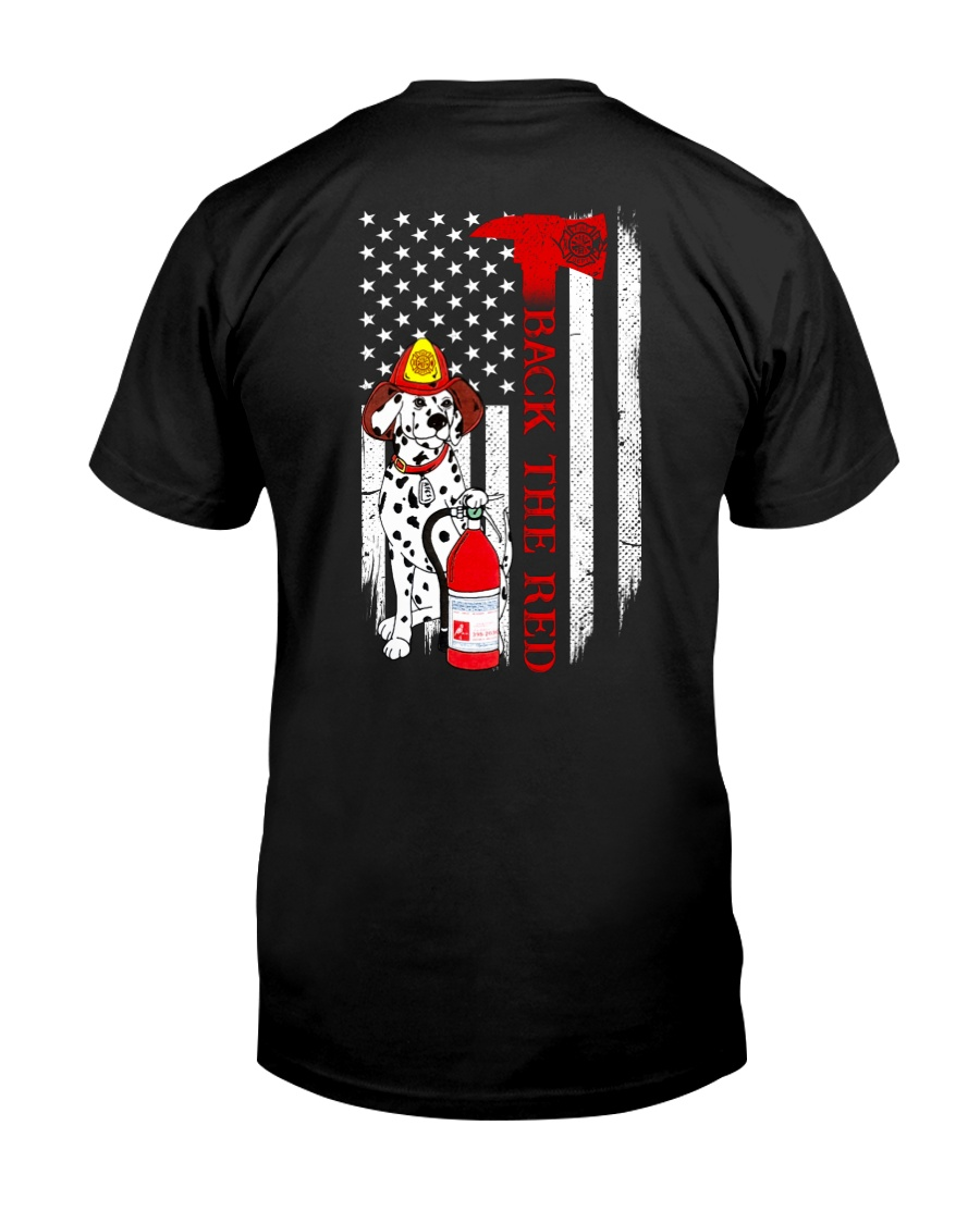 Dalmatian dog firefighter back the red shirt