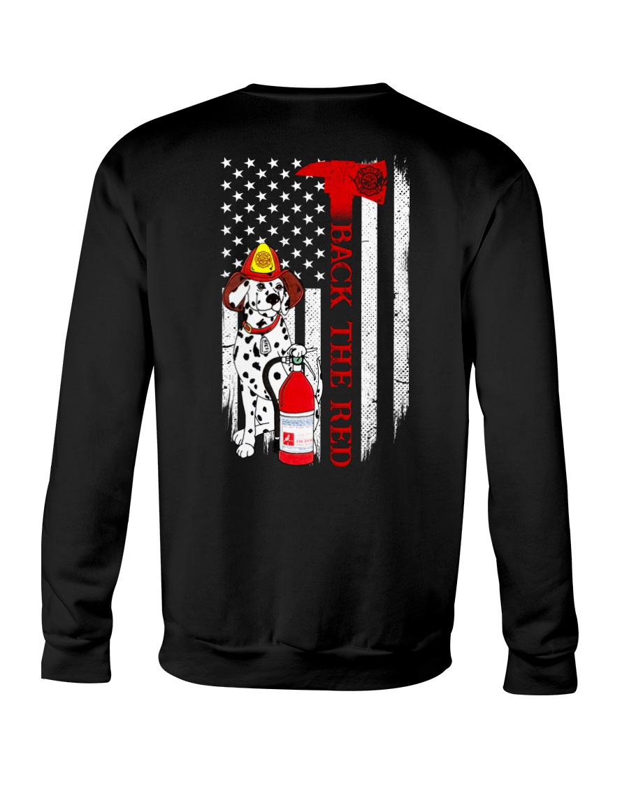 Dalmatian dog firefighter back the red