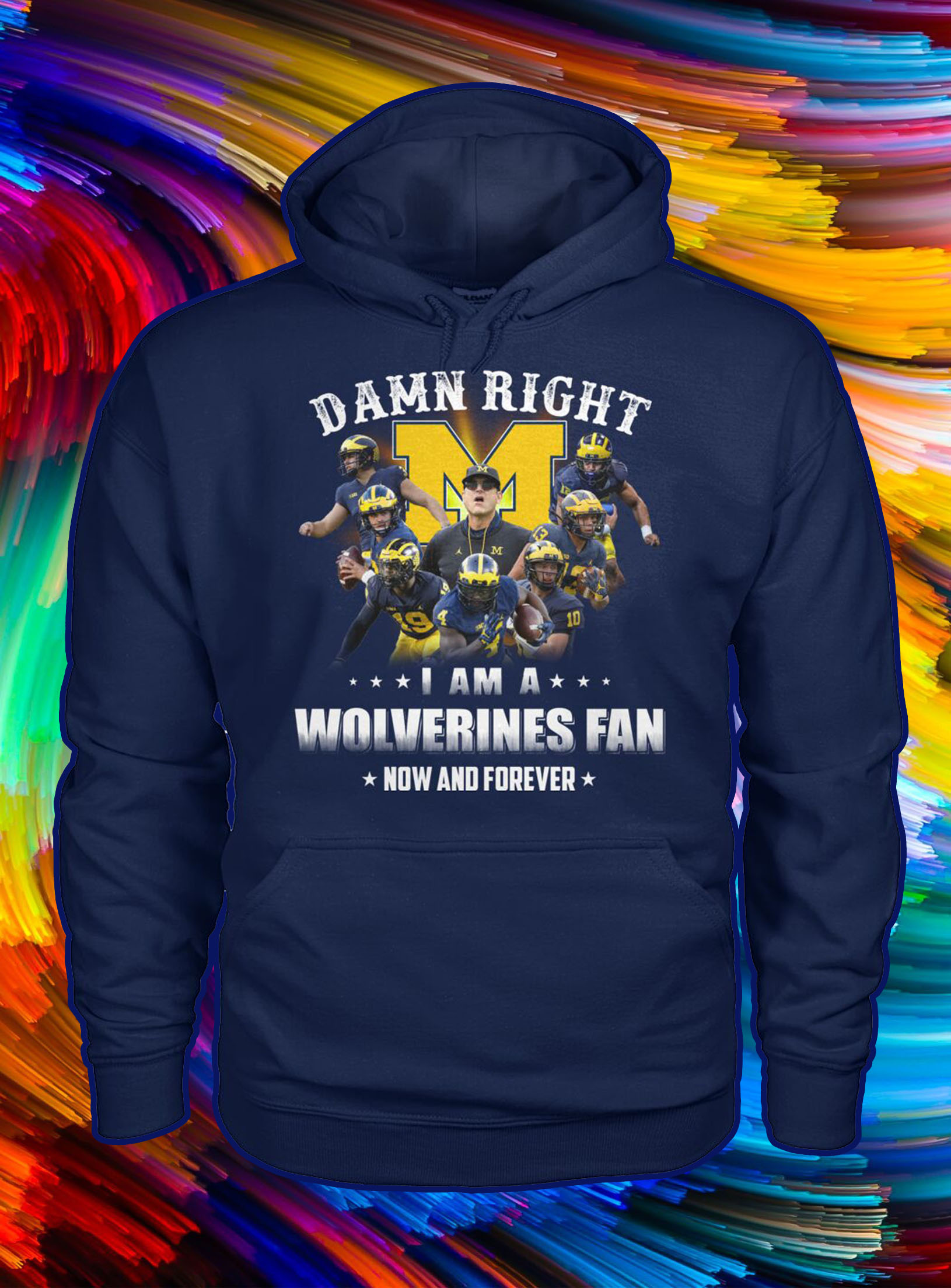 Damn right i am a wolverines fan now and forever hoodie