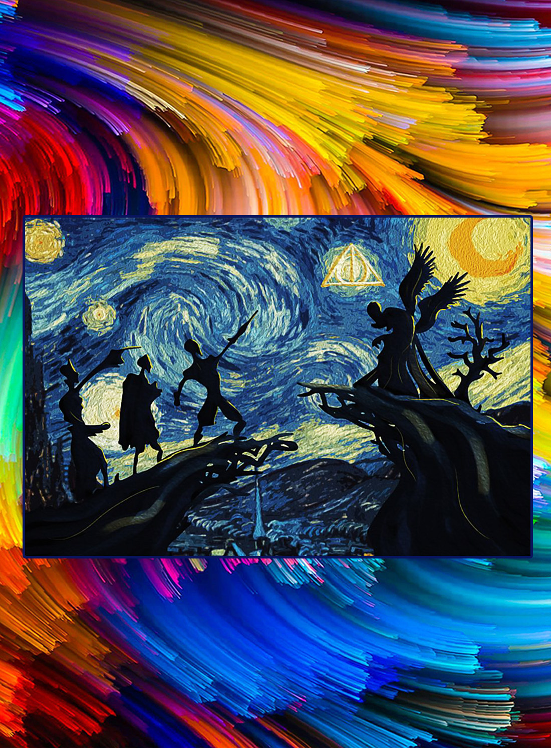 Deathly hallows harry potter starry night poster - A4