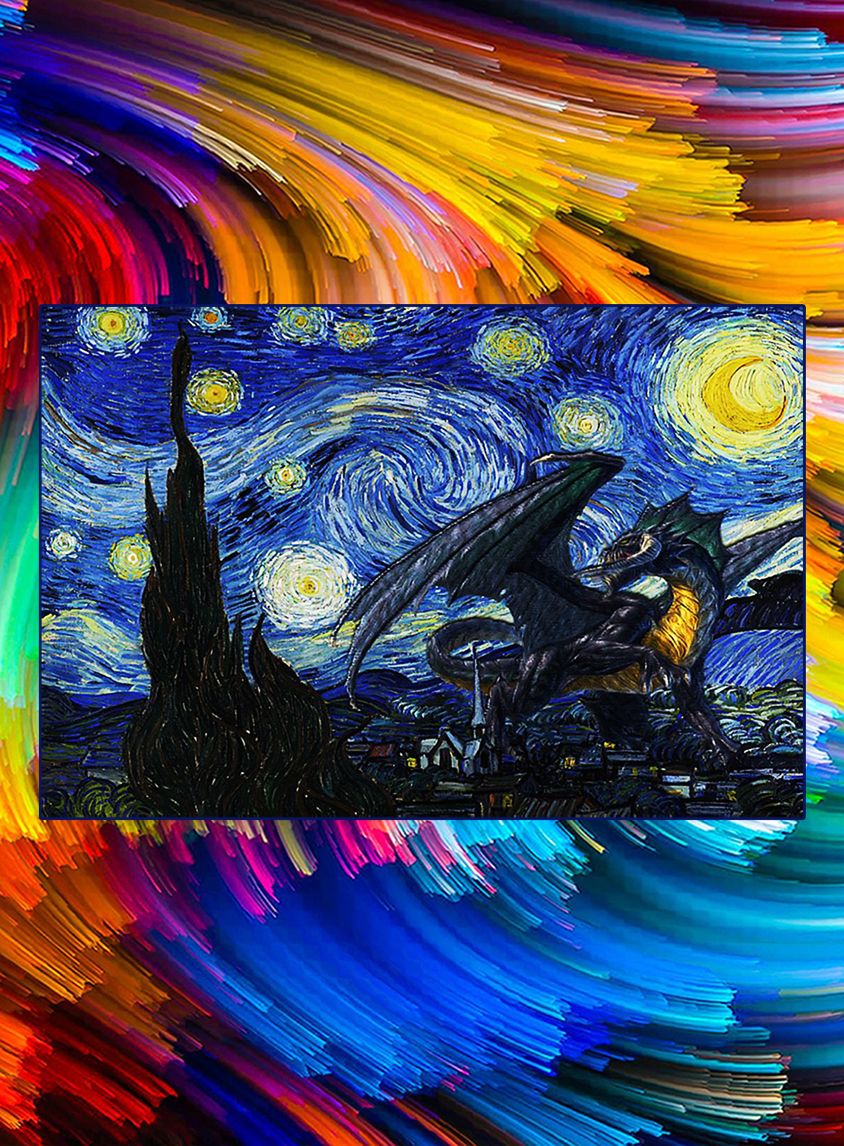 Dragon love starry night poster - A1