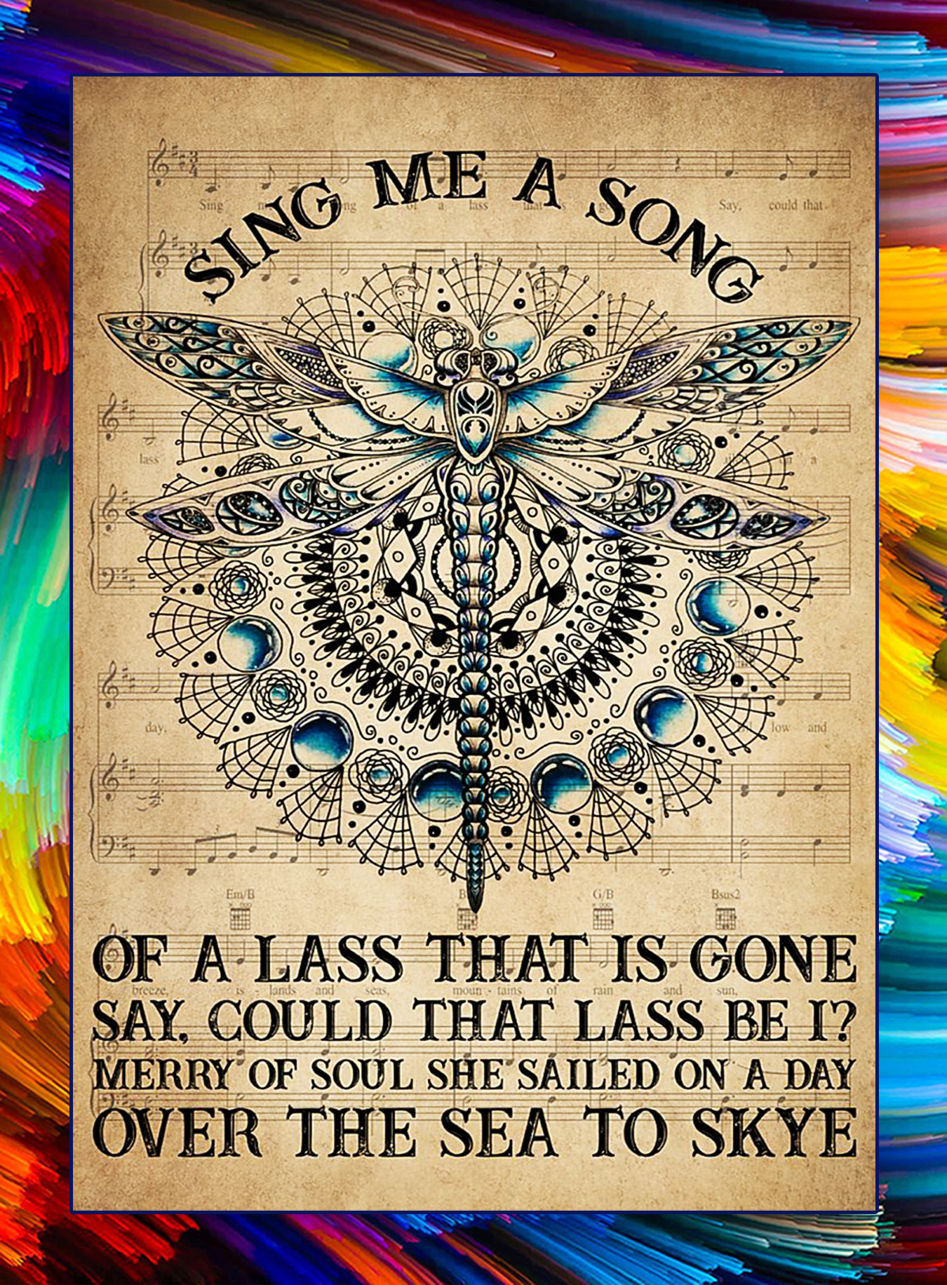 Dragonfly sing me a song poster - A3