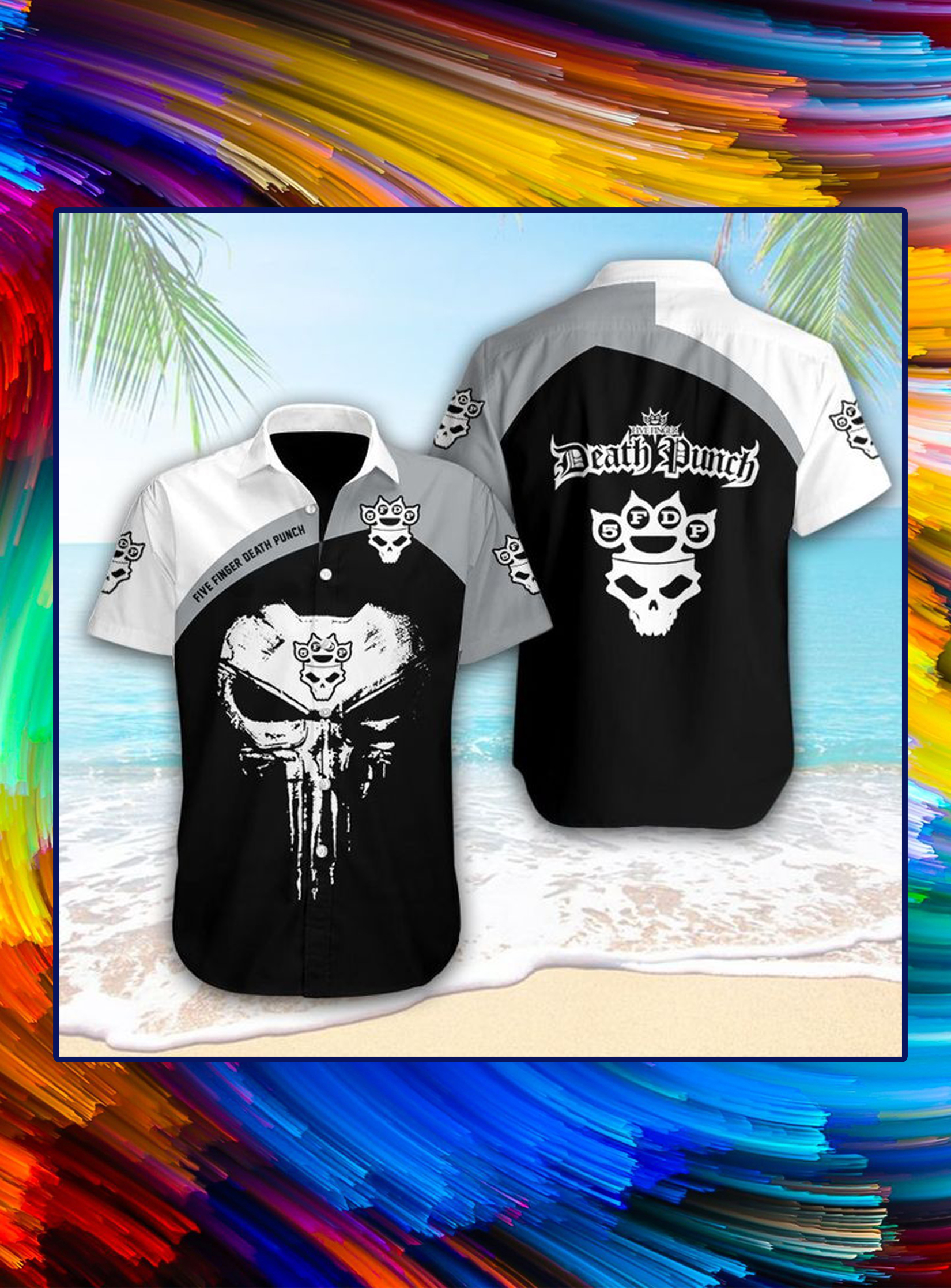 Five finger death punch punisher skull hawaiian shirt- pic 1