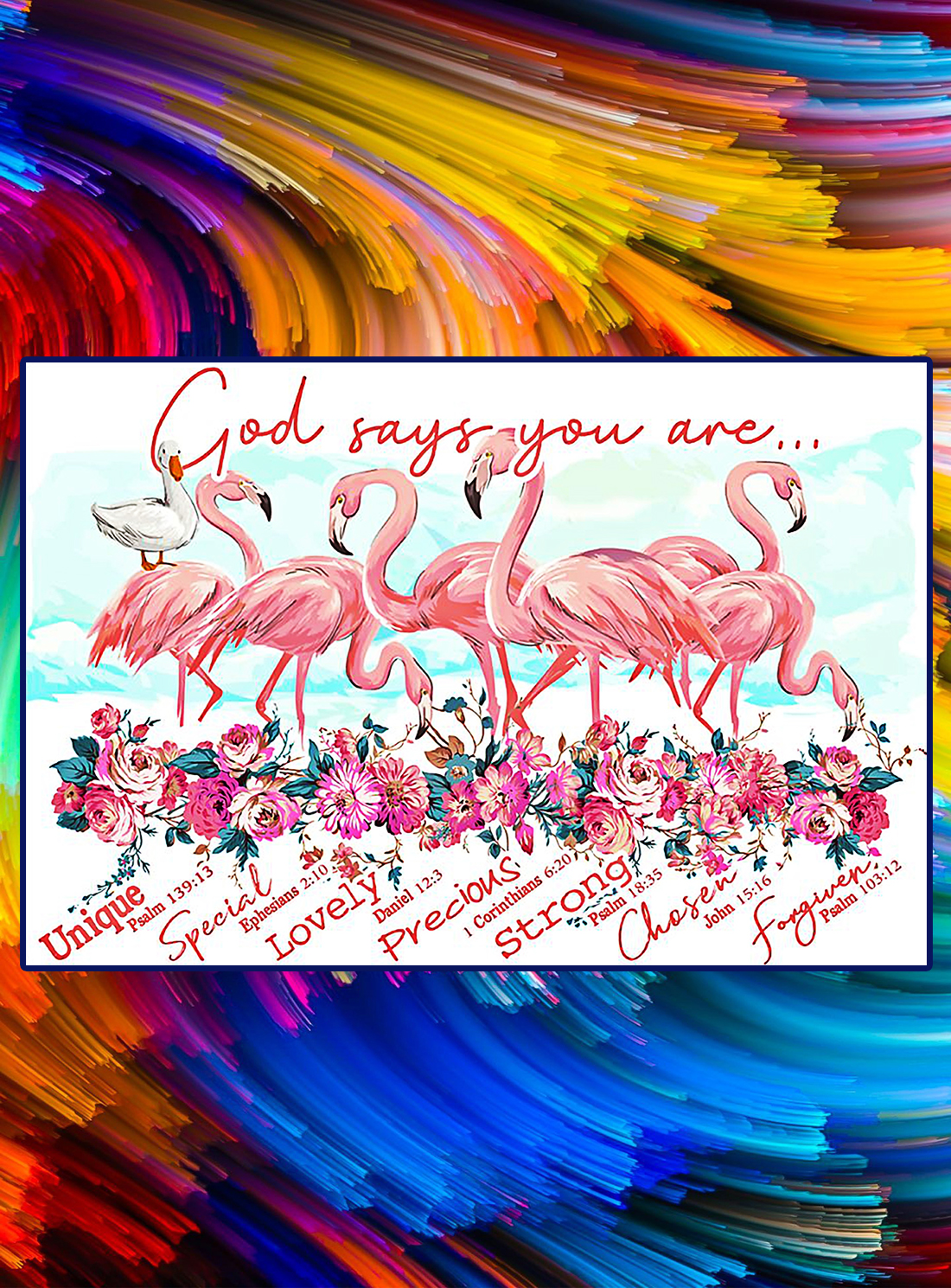 Flamingos god says you are poster - A4