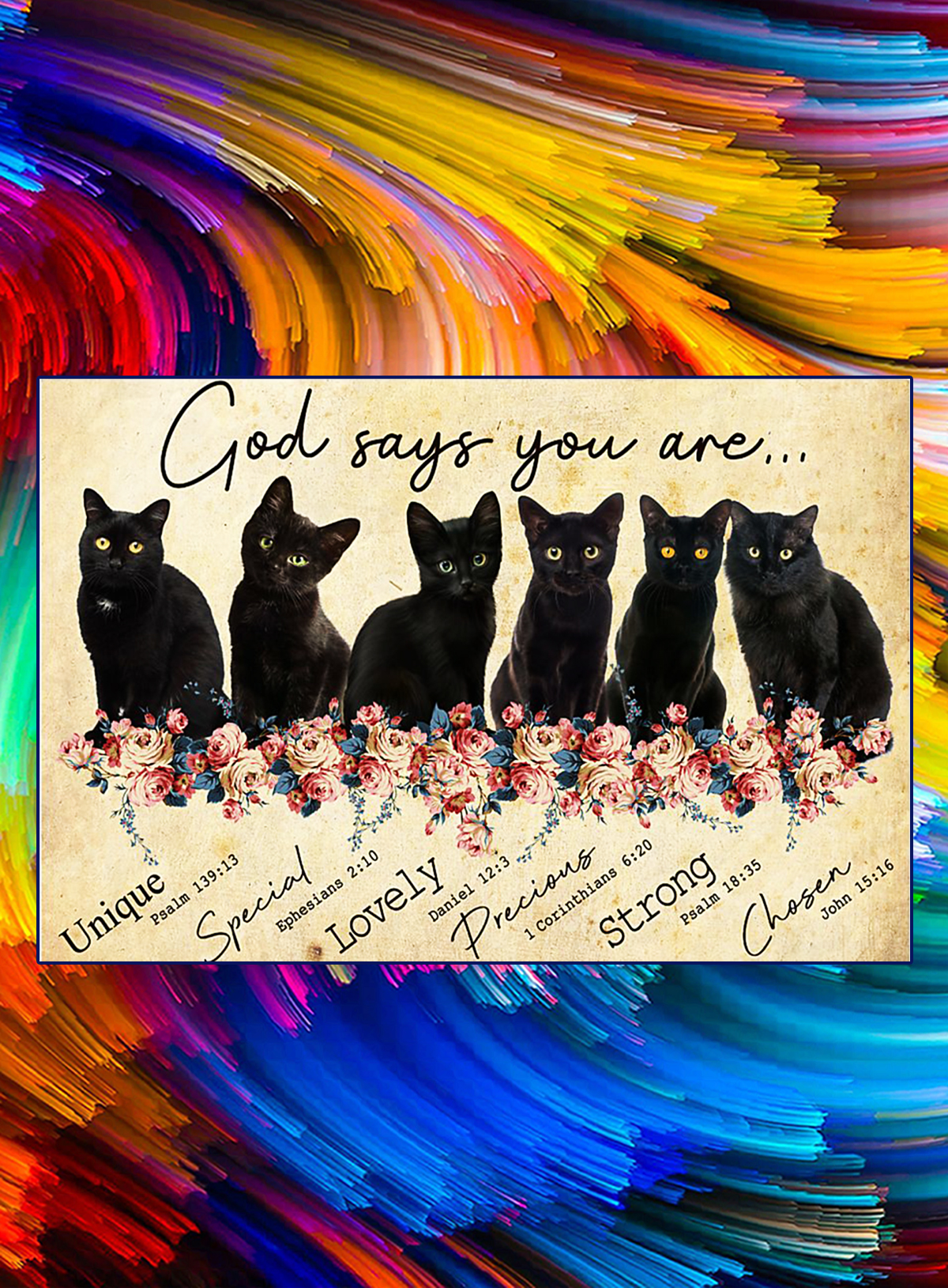 God say you are black cat poster - A4