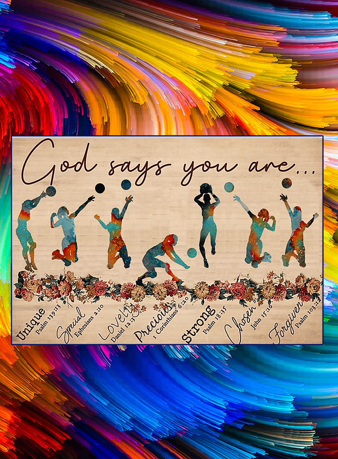 God says you are voleyball poster - A3