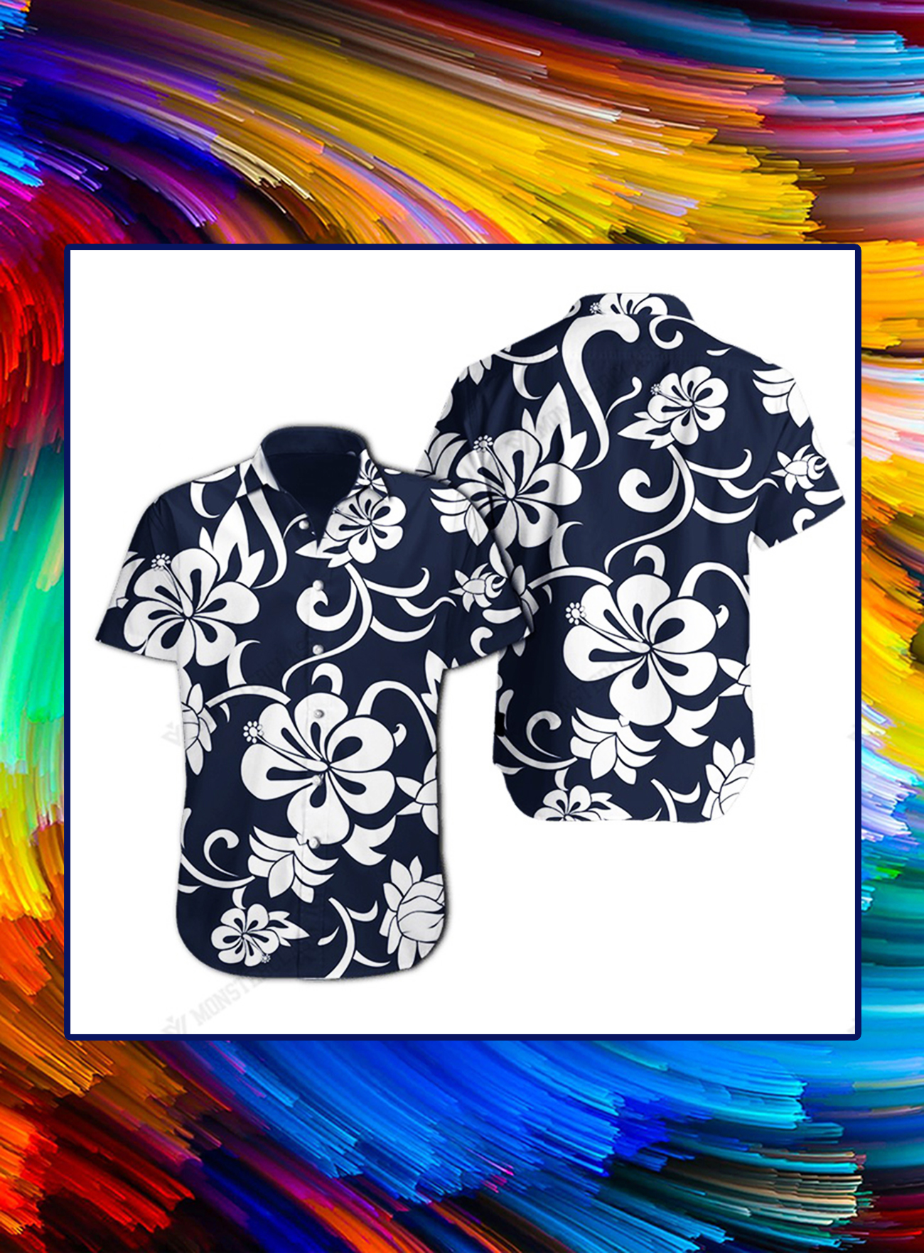 Hawkeye pierce's classic blue and white hibiscus hawaiian shirt - Picture 1