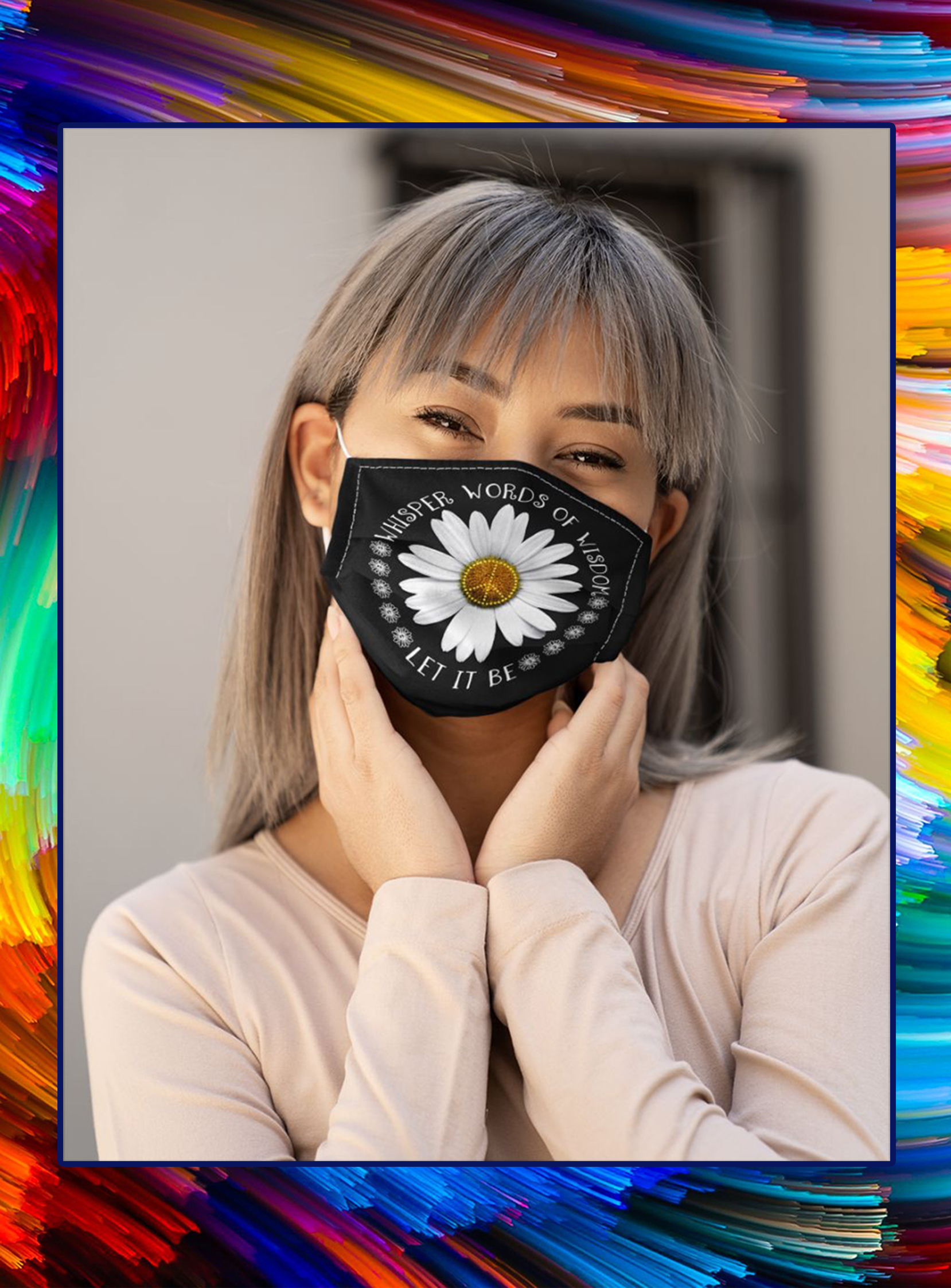 Hippie daisy whisper words of wisdom let it be face mask- pic 1