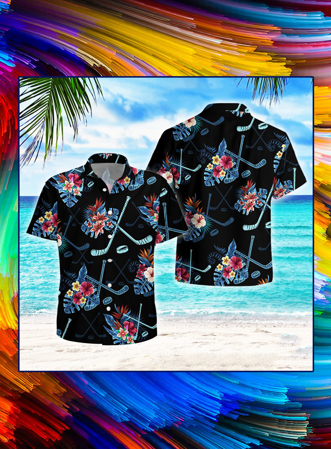 Hockey tropical hawaiian shirt - Picture 1