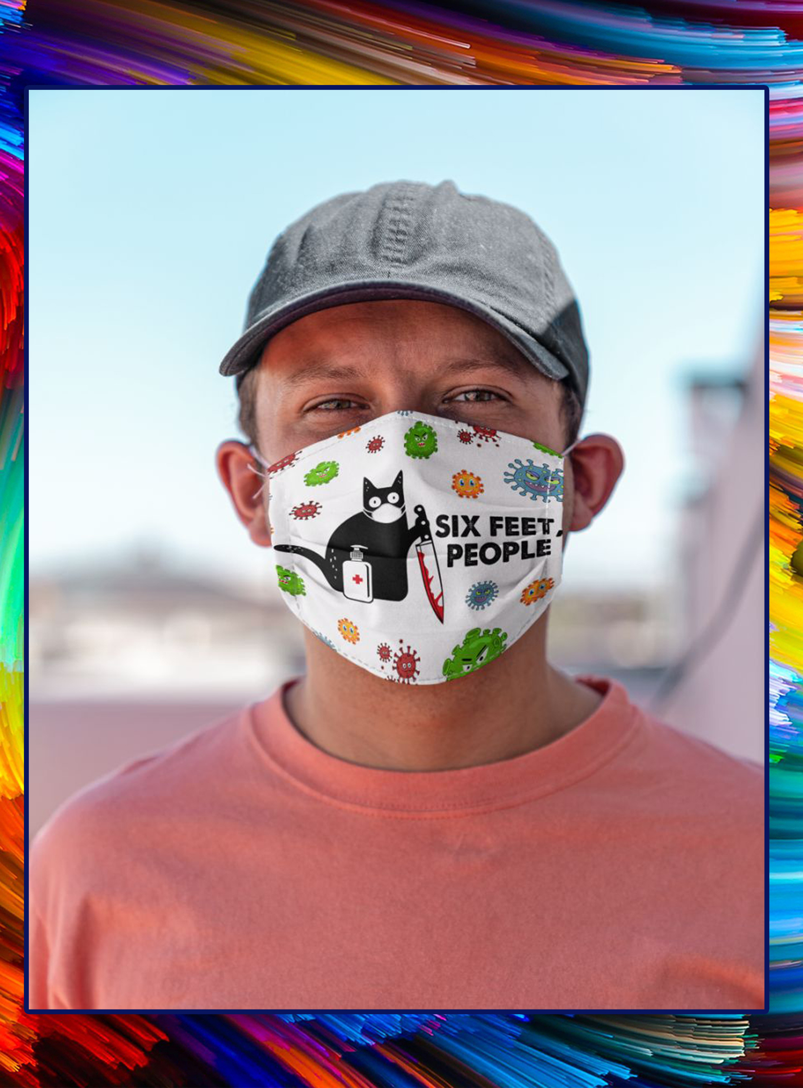 Muder cat six feet people face mask- pic 1