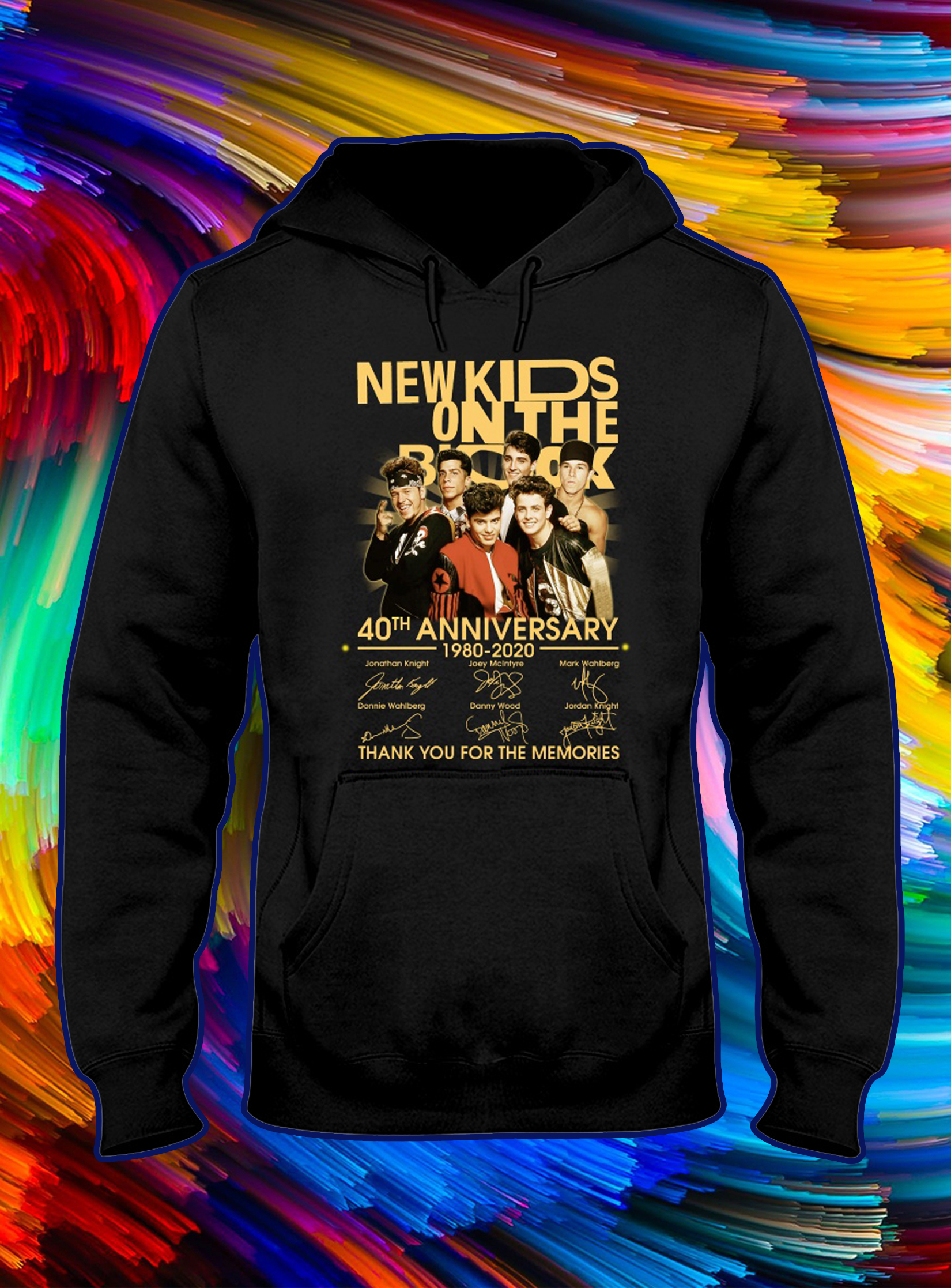 New kids on the block 40th anniversary thank you for the memories signature hoodie
