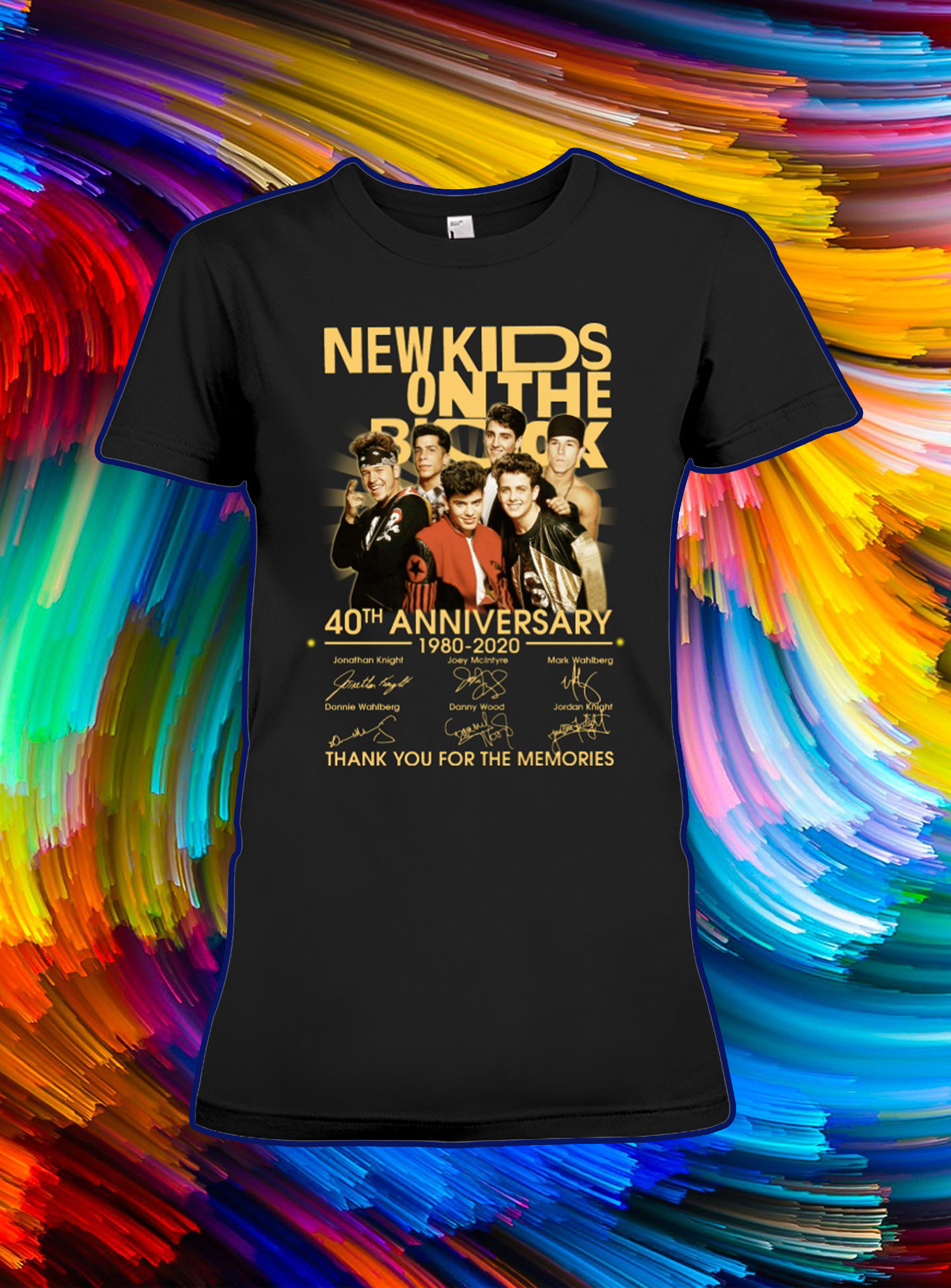 New kids on the block 40th anniversary thank you for the memories signature lady shirt