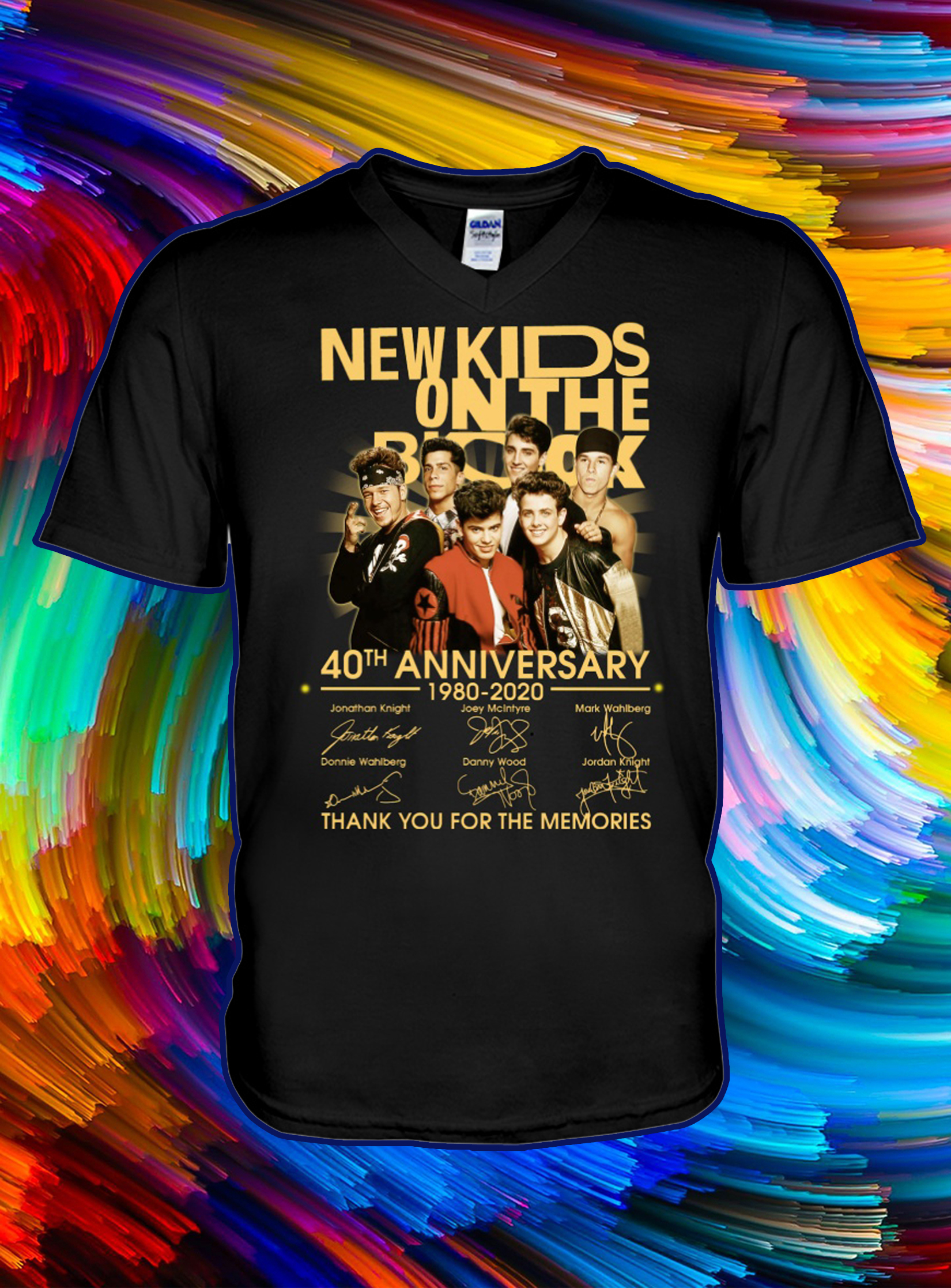 New kids on the block 40th anniversary thank you for the memories signature v-neck