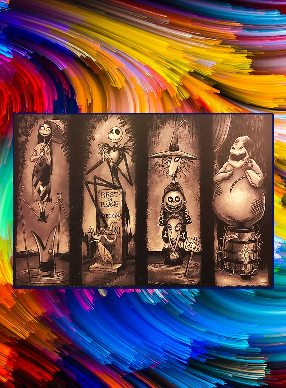 Nightmare before christmas stretching room poster - A4