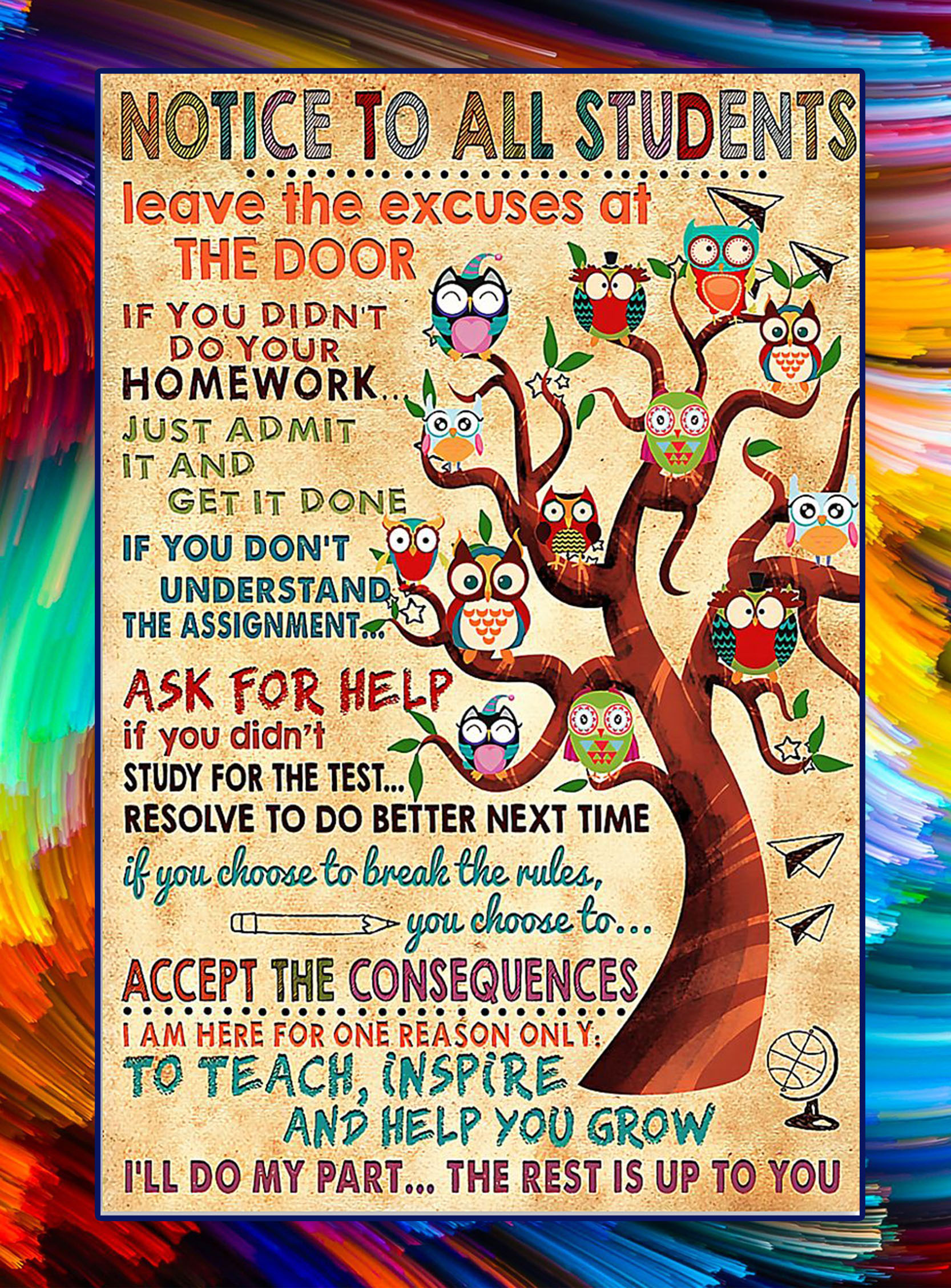 Notice to all students teacher owl poster - A2
