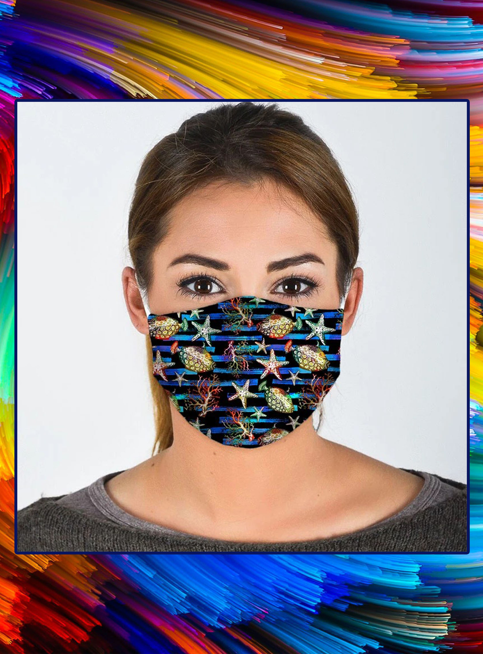 Ocean all over prints face mask- pic 1