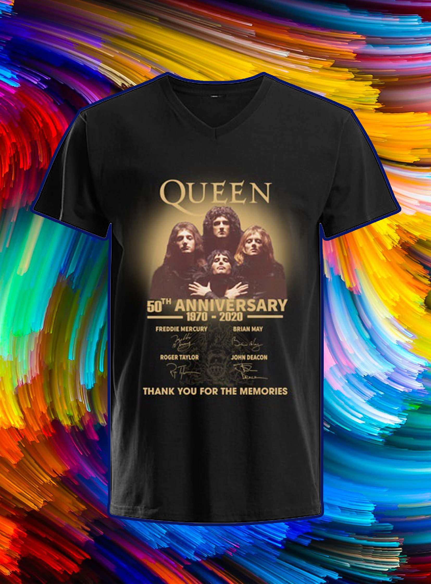 Queen 50th anniversary 1970 2020 thank you for the memories v-neck