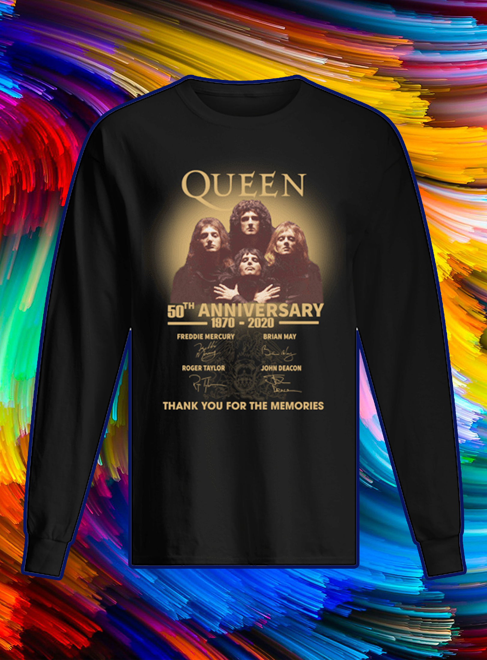 Queen 50th anniversary signature thank you for the memories longsleeve tee