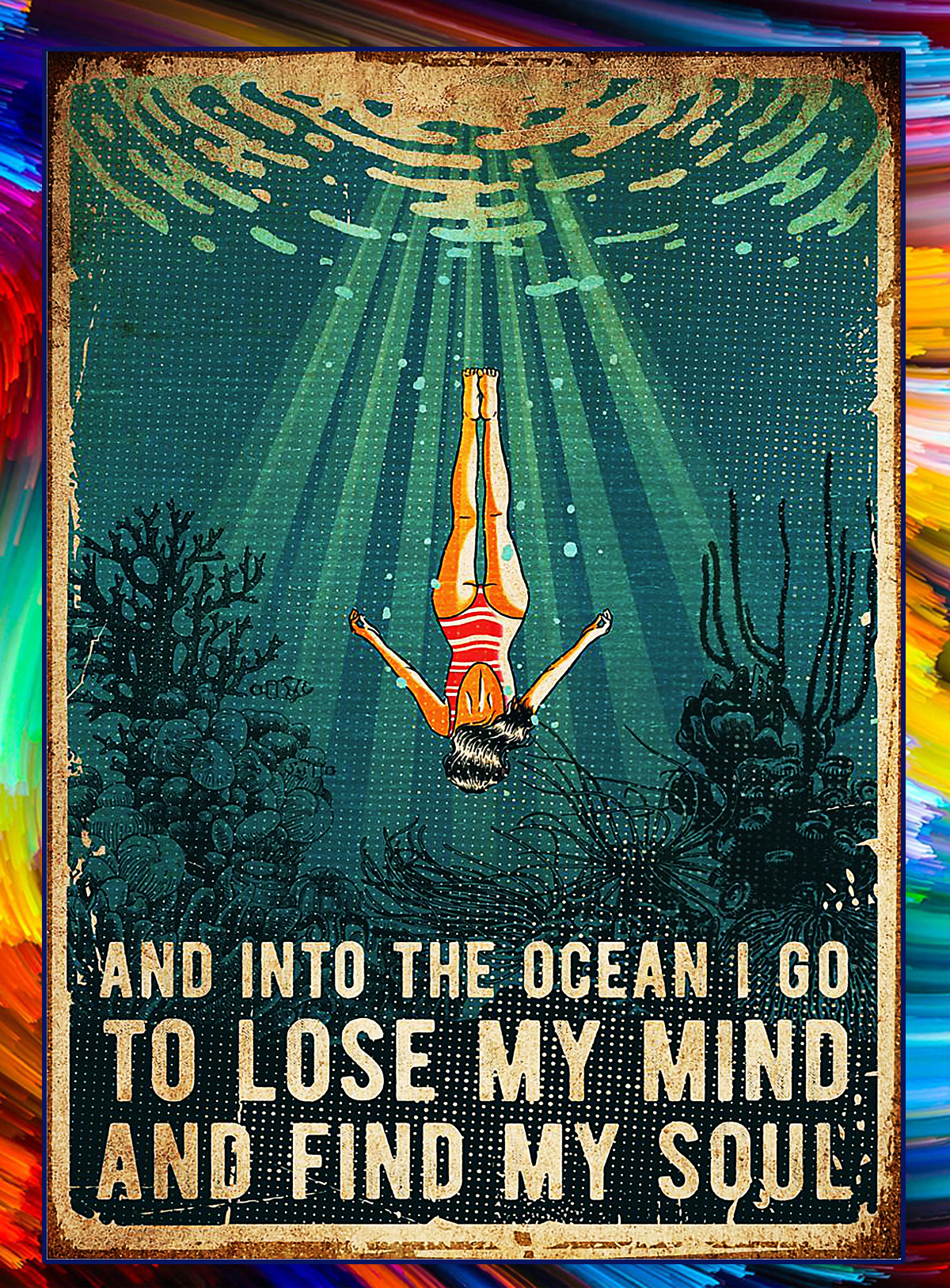 SWIMMING And into the ocean poster - A4