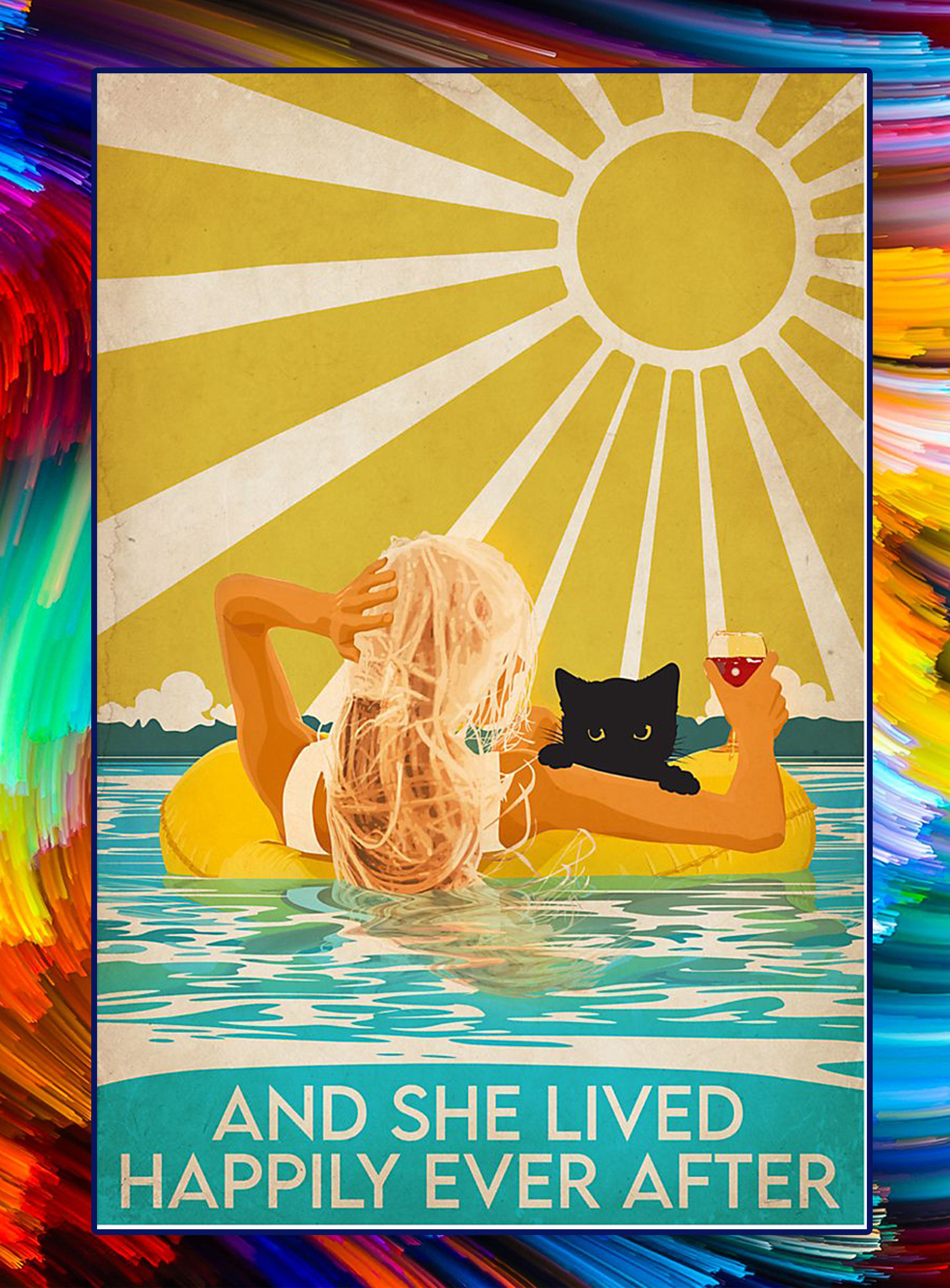 SWIMMING And she lived happily ever after poster - A3