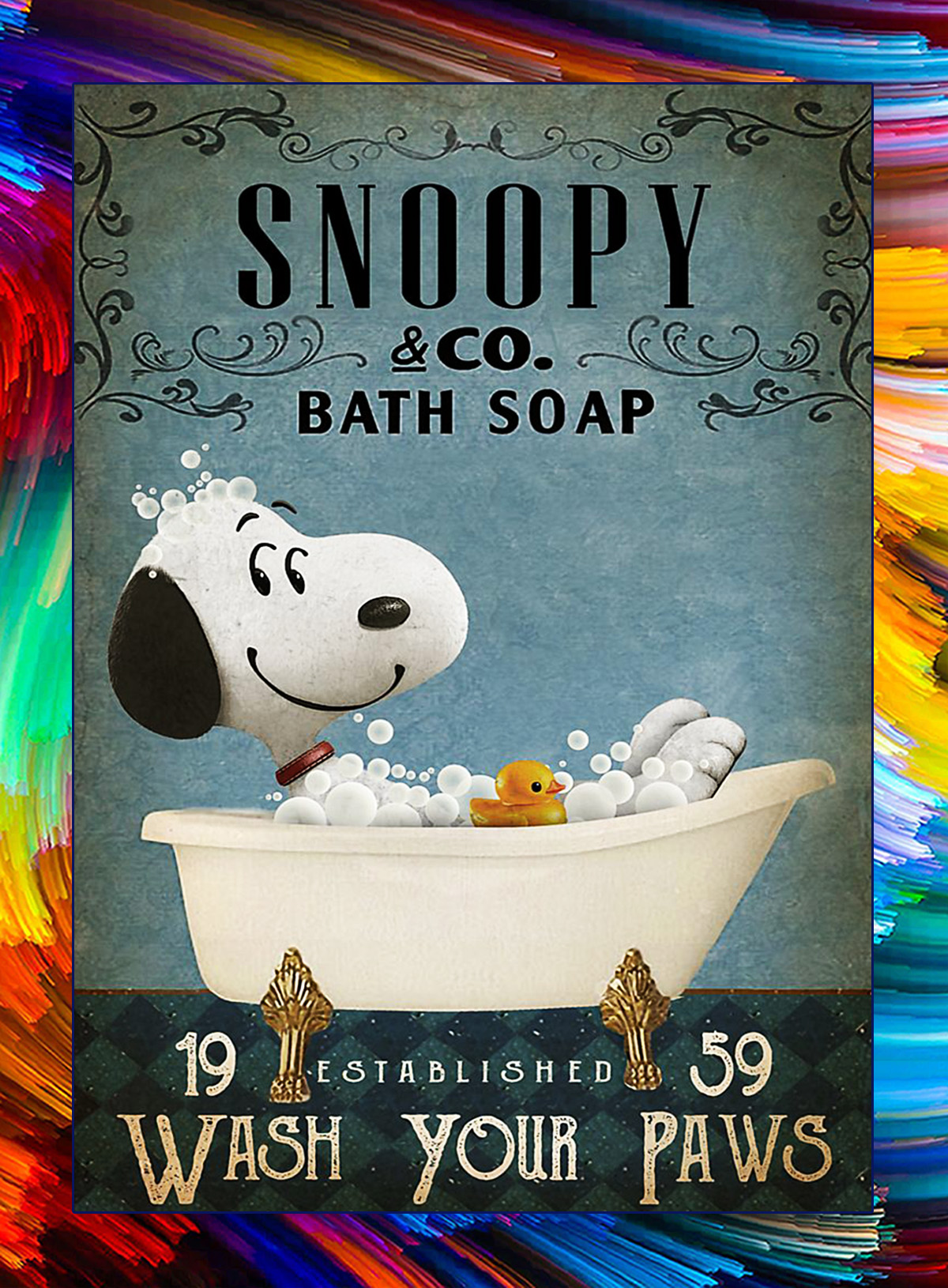 Snoopy co bath soap wash your paws poster - A4