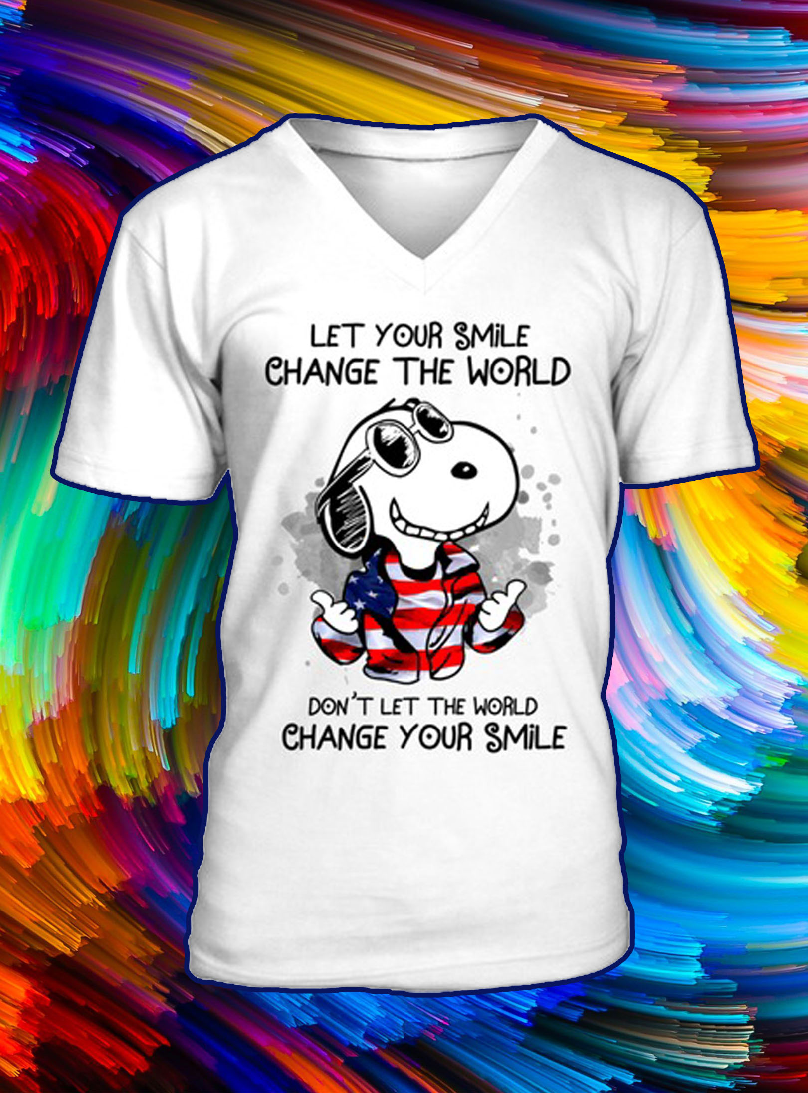 Snoopy let your smile change the world don't let the world change your smile v-neck