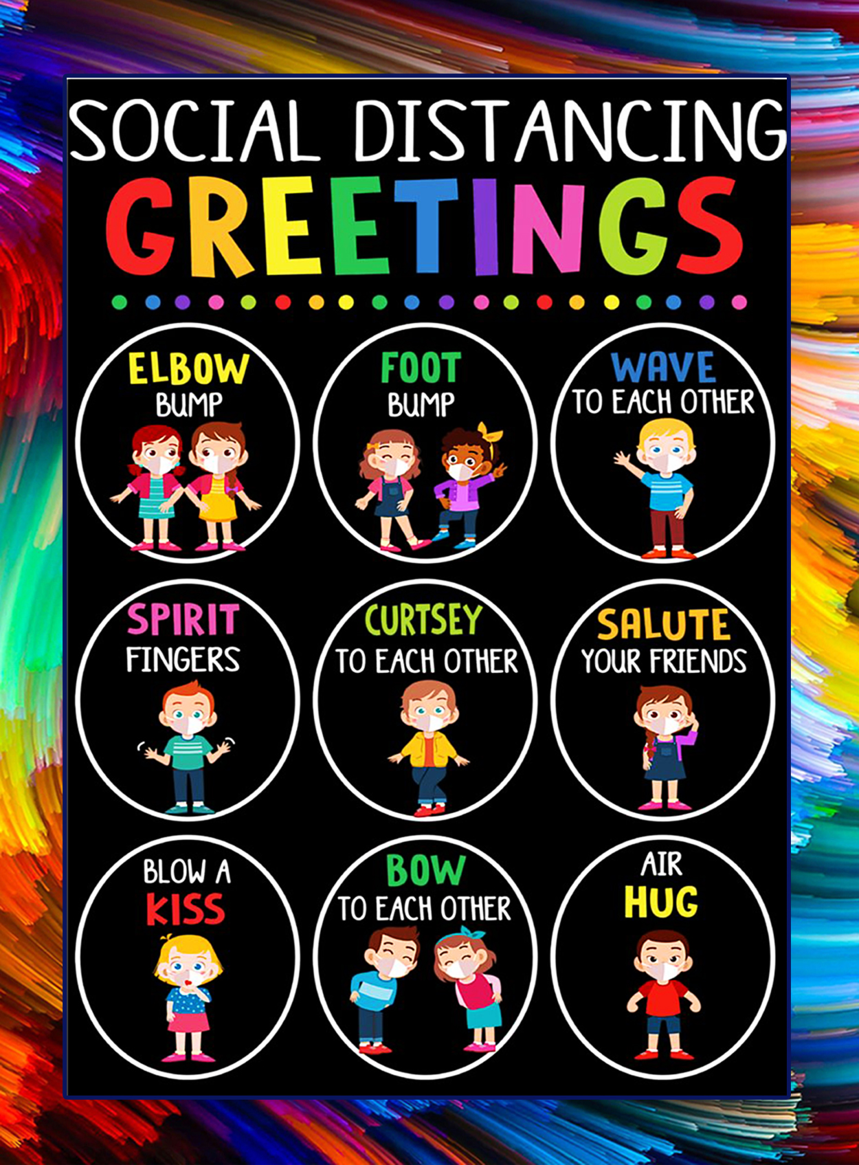 Social distancing greetings classroom poster - A2