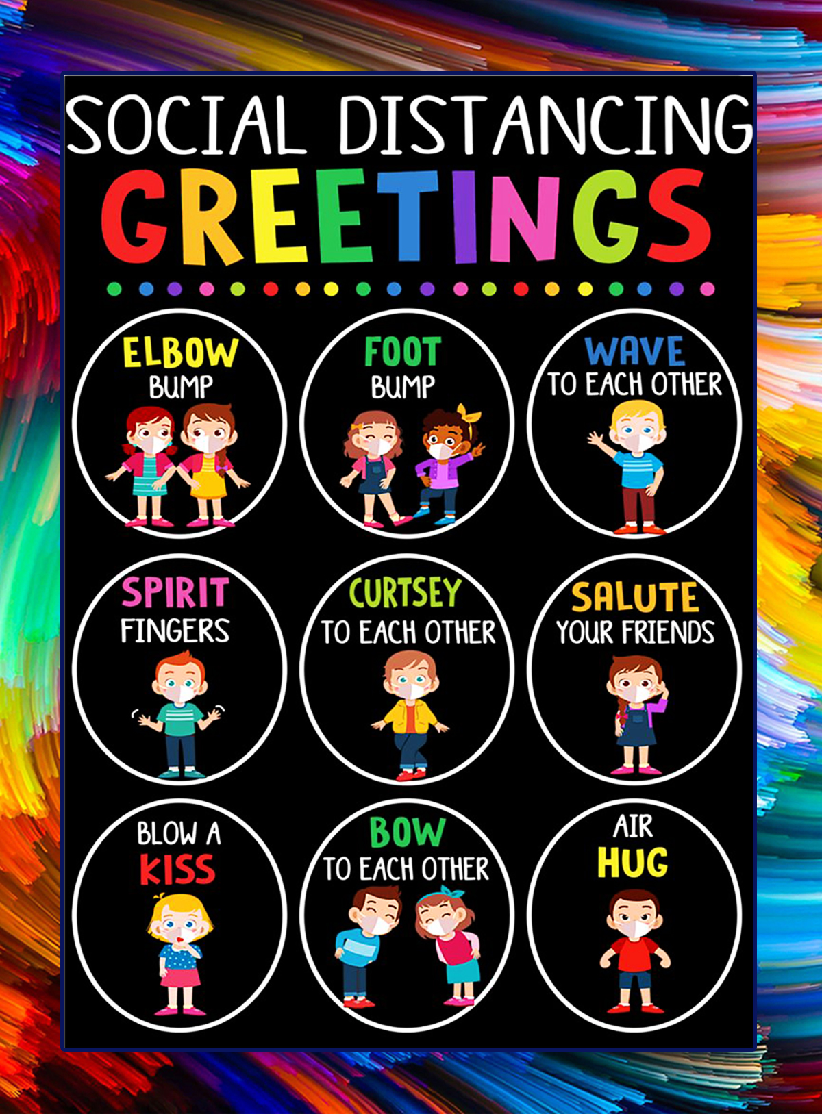 Social distancing greetings classroom poster
