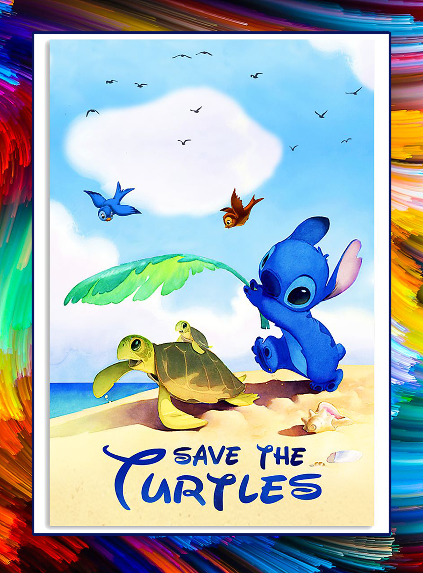 Stitch Save the turtles poster - A3