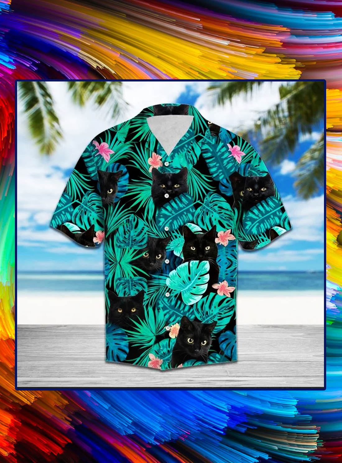 Tropical black cat hawaii shirt - Picture 1