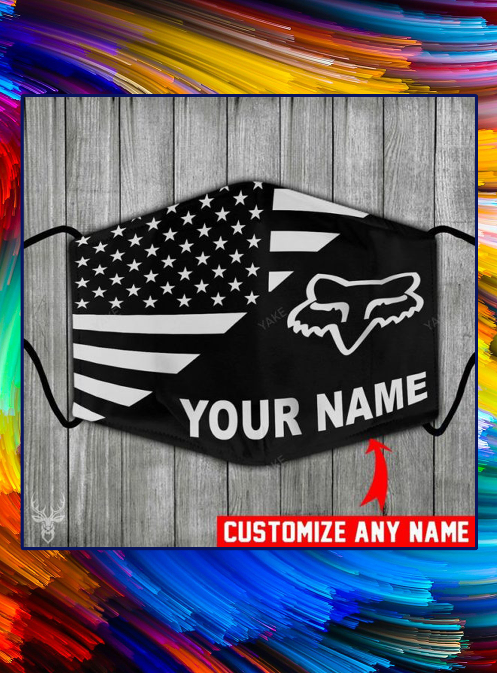 American flag fox racing customize name face mask - pic 1