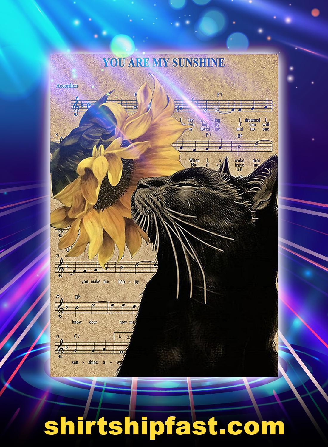 Black cat sheet music you are my sunshine poster - A4