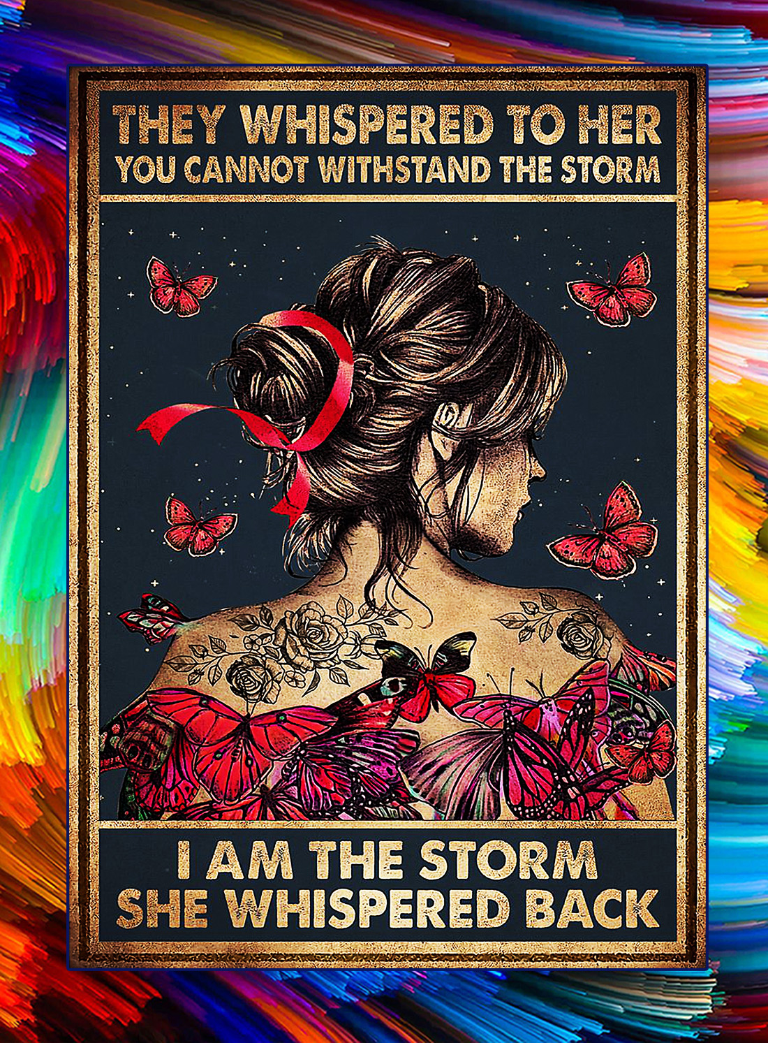 Breast cancer dragonfly girl they whispered to her you can not withstand the storm poster