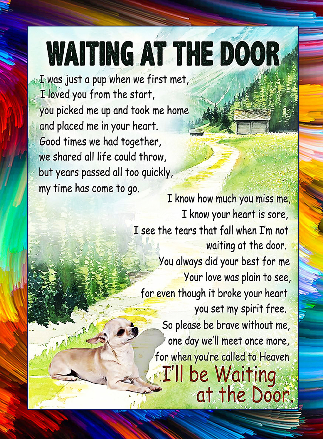 Chihuahua waiting at the door poster - A4