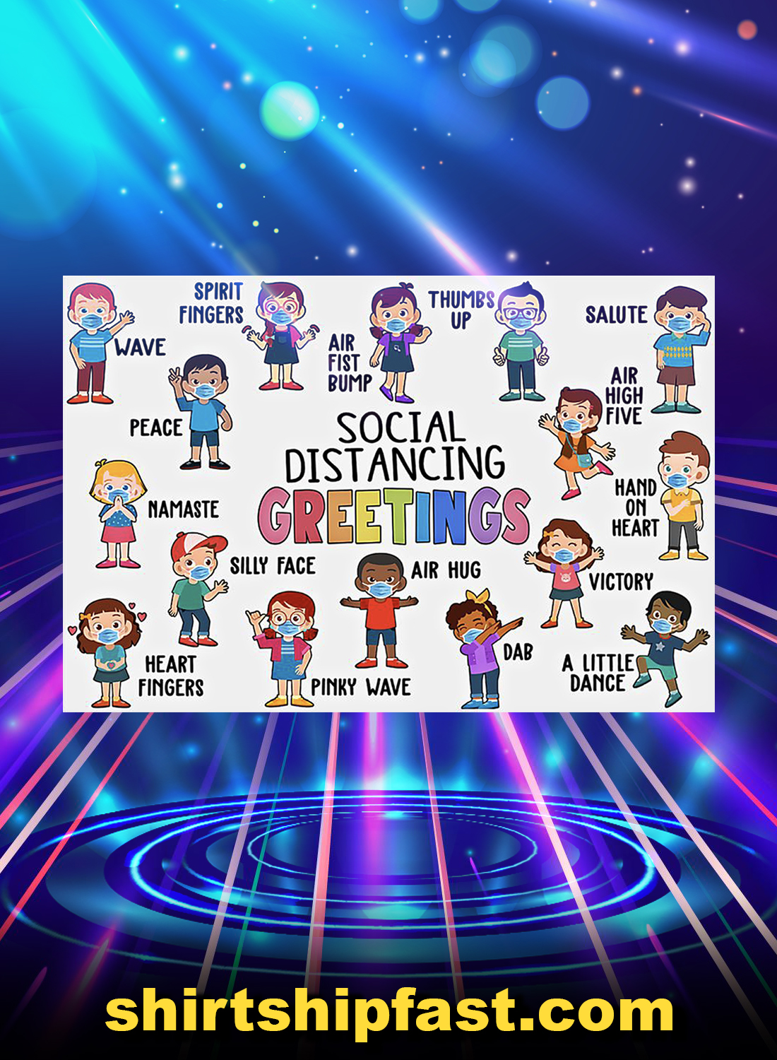 Classroom social distancing greetings poster - A4