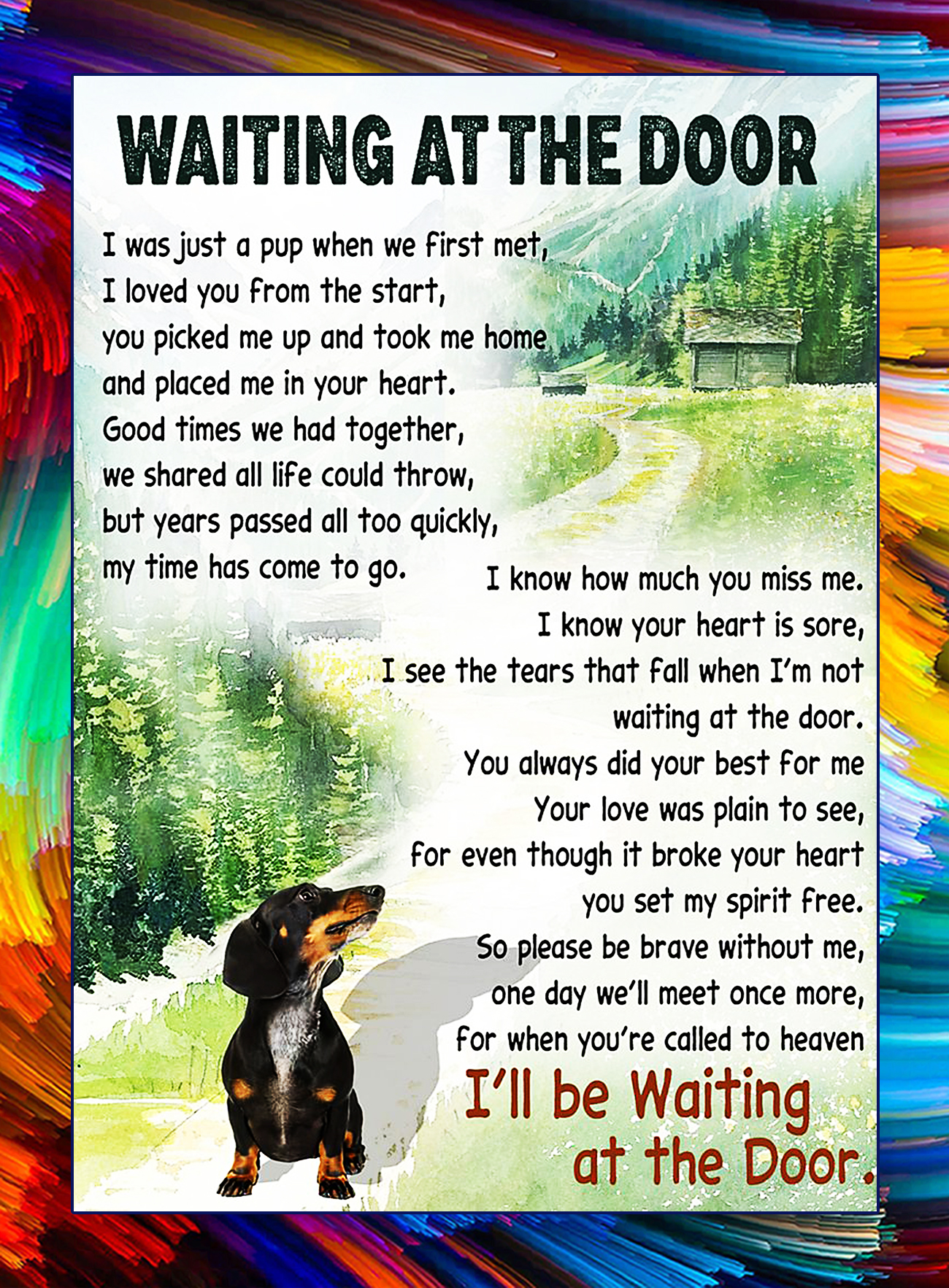 Dachshund waiting at the door poster - A4