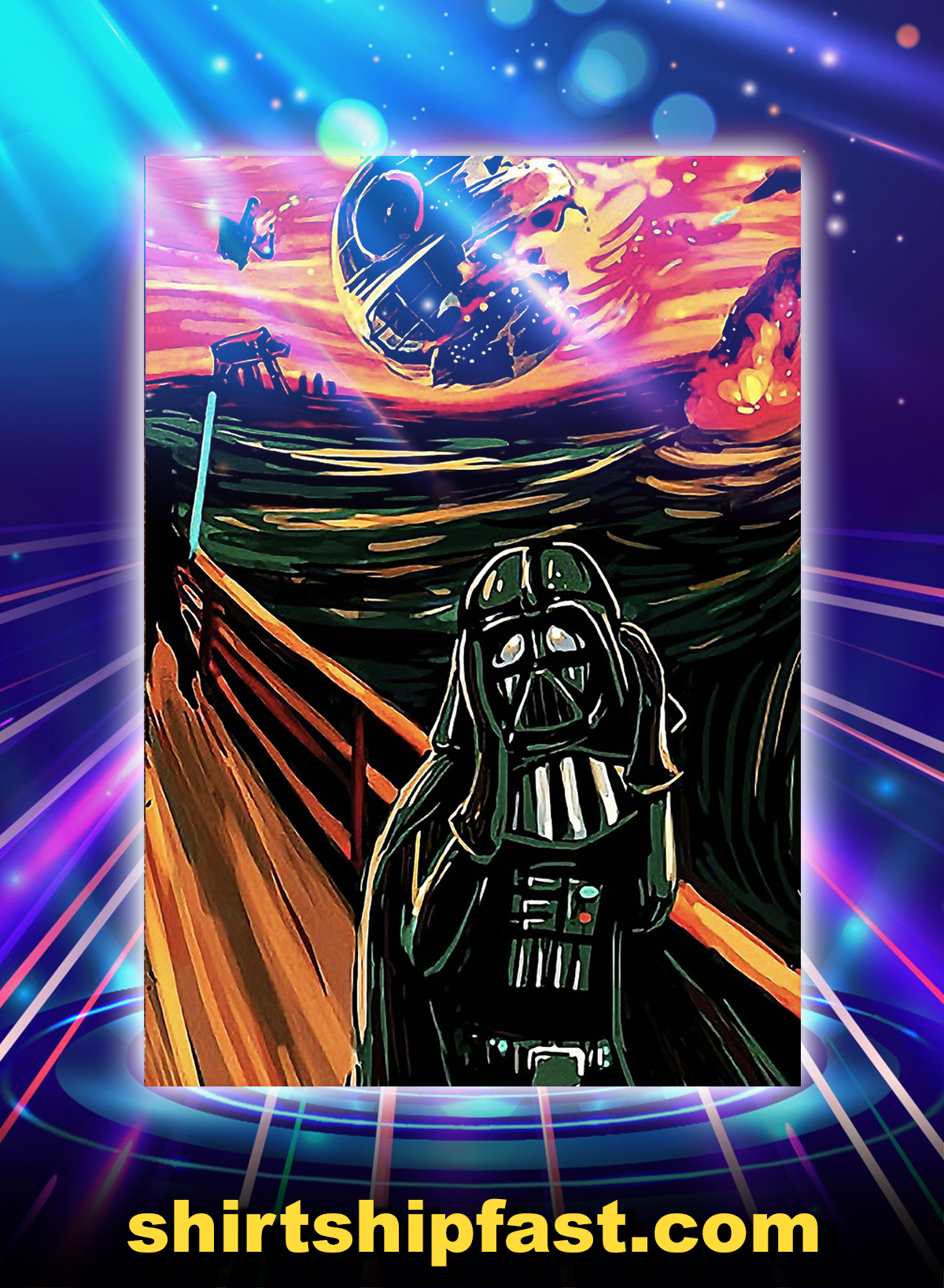 Darth vader and death star scream poster - A4