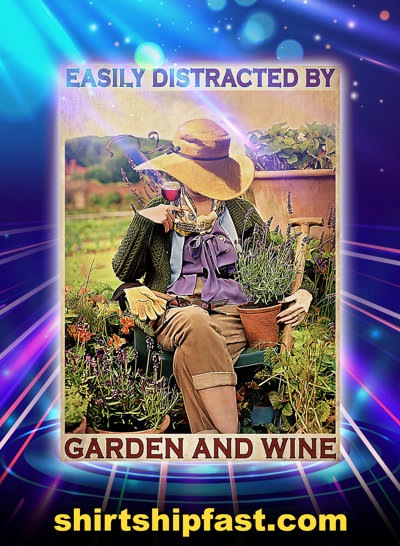 Easily Distracted By Garden And Wine Poster - A3