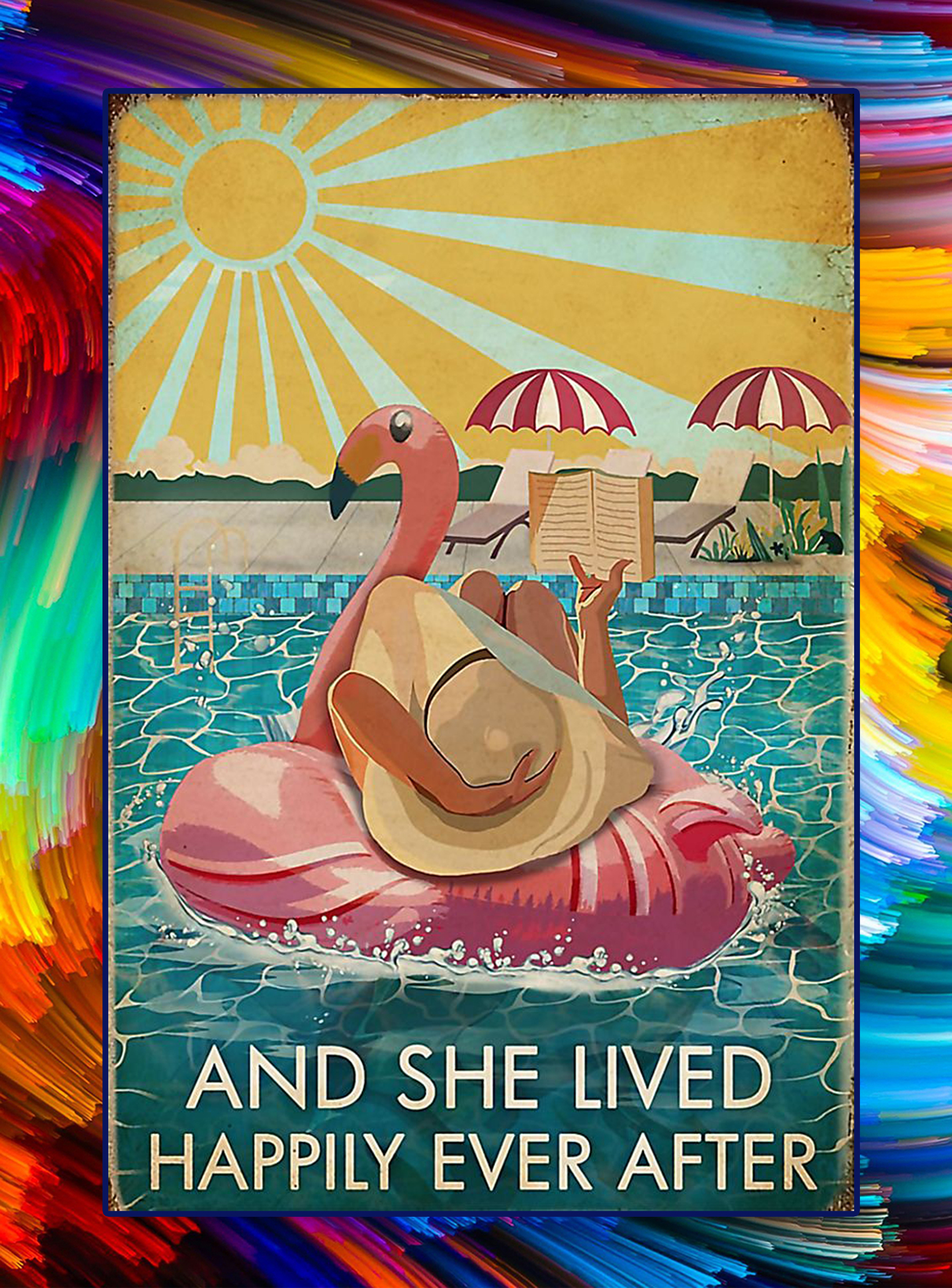 Flamingo book pool and she lived happily ever after poster - A4