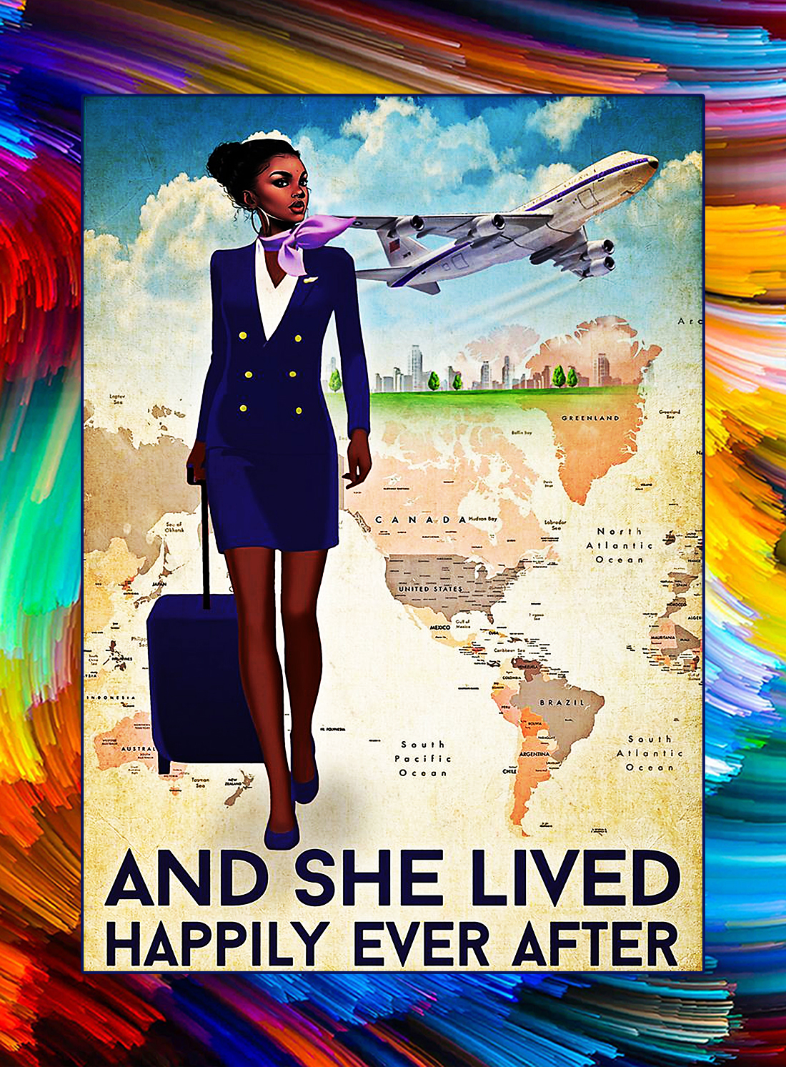 Flight attendant and she lived happily ever after poster - Black girl style