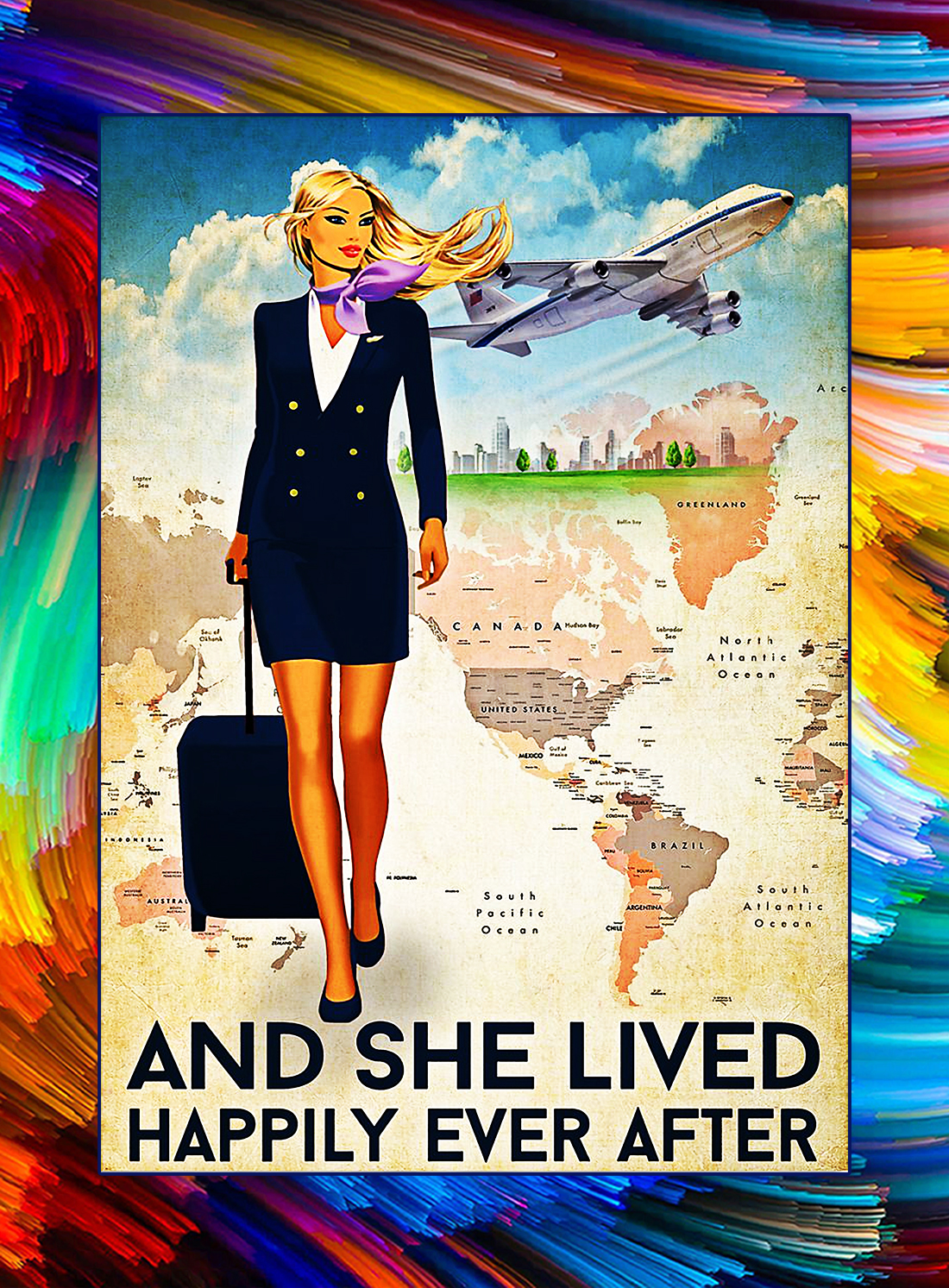 Flight attendant and she lived happily ever after poster - Style 2