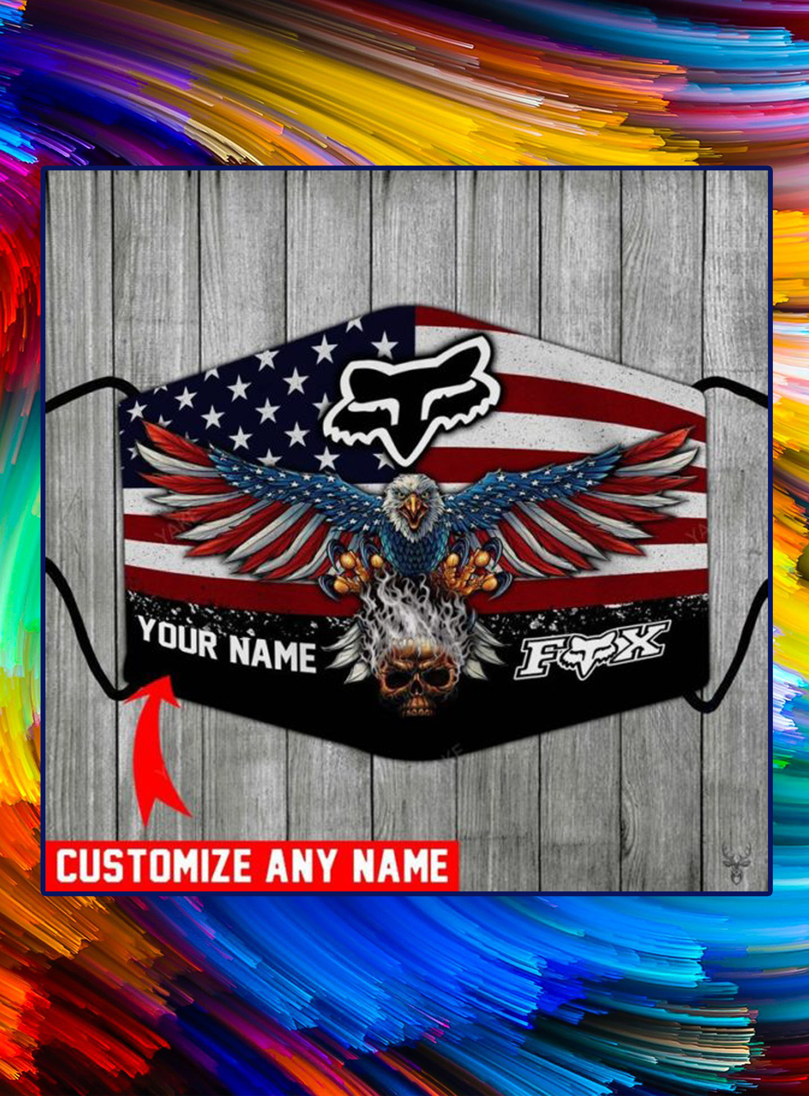 Fox racing american flag eagle customize name face mask - pic 1