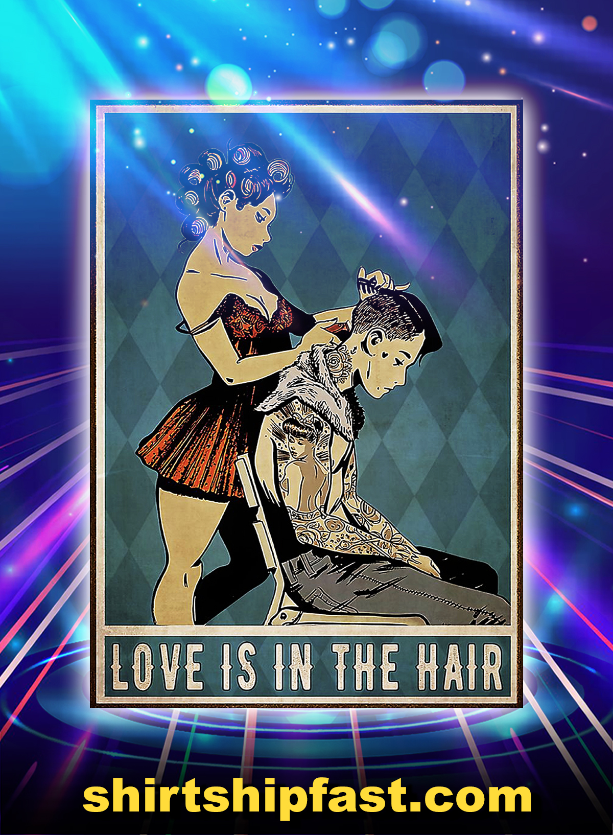 Girl hairdresser love is in the hair poster - A4
