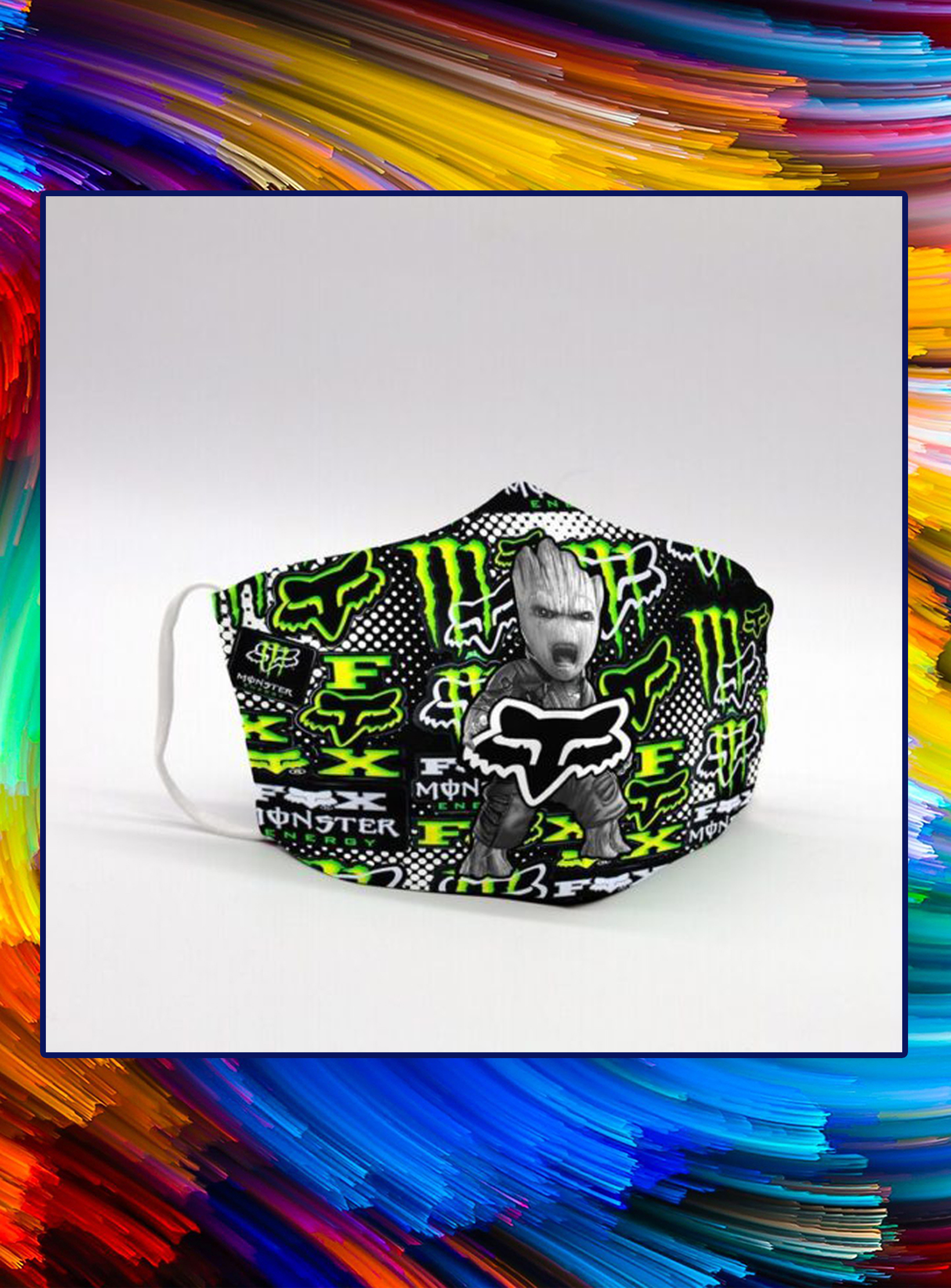 Groot fox racing monster energy face mask - pic 1Groot fox racing monster energy face mask - pic 1