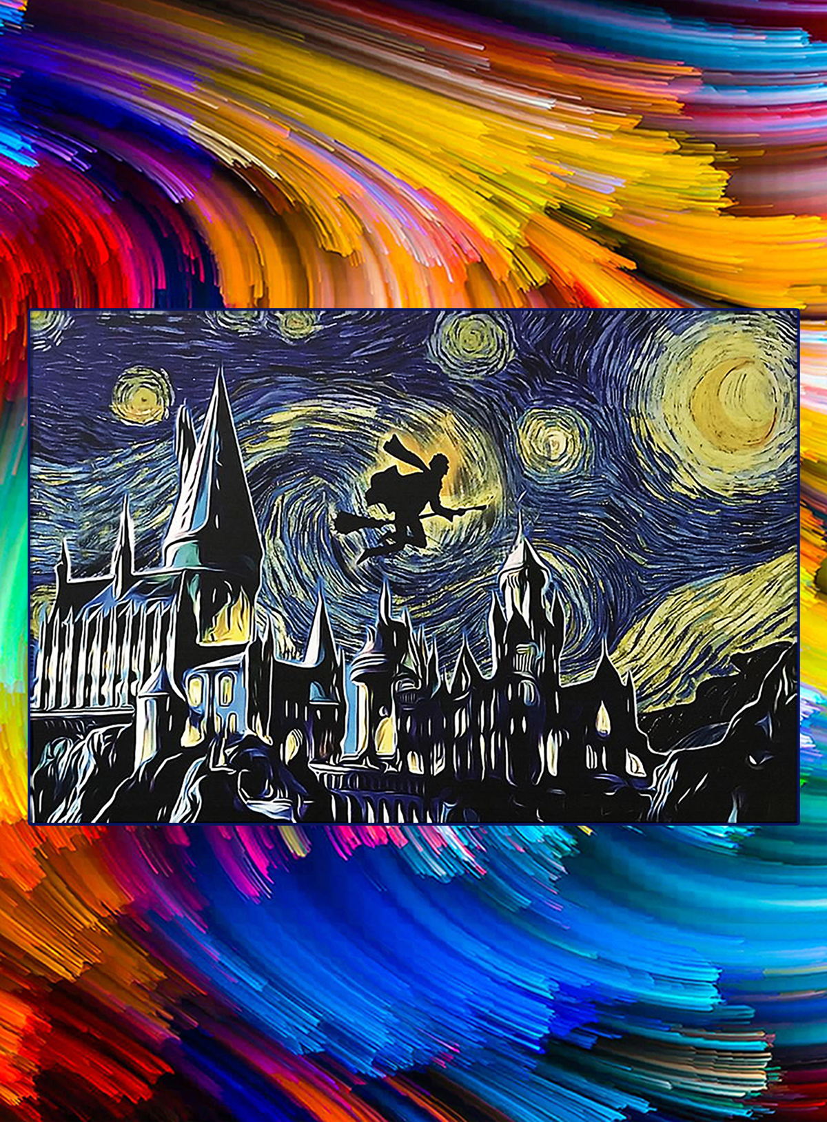 Hogwarts harry potter flying starry night poster - A1