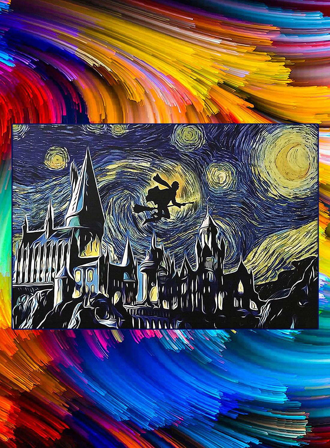 Hogwarts harry potter flying starry night poster - A4