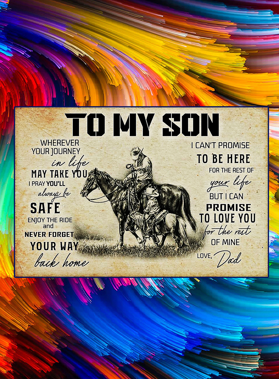 Horse to my son love dad poster - A3